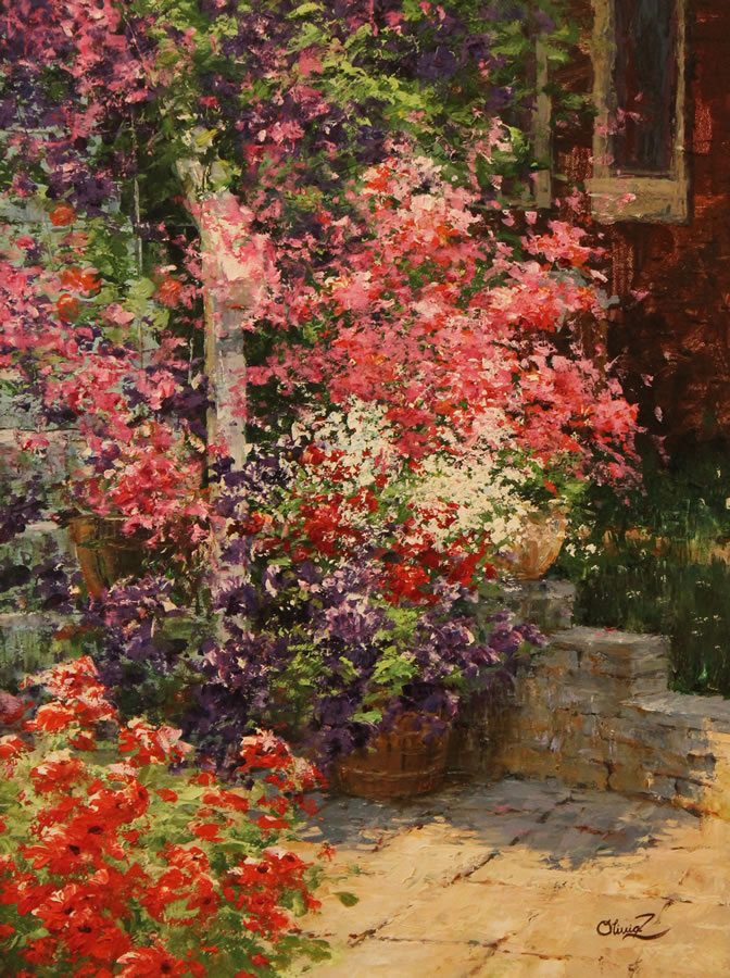 OLIVIA ZENG  Secret Backyard Original Oil 18 X 24