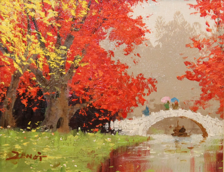 UNCLE ZENG  Autumn Bridge Original Oil 8 X 10
