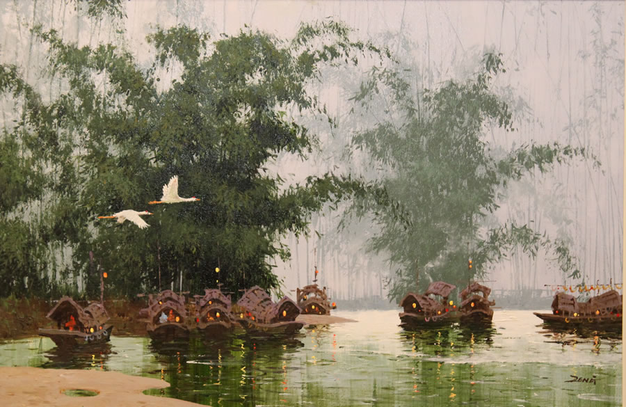 UNCLE ZENG  Bamboo Ferry Original Oil 36 X 24