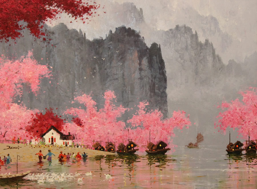 UNCLE ZENG  Blossom Village Original Oil 32 X 24