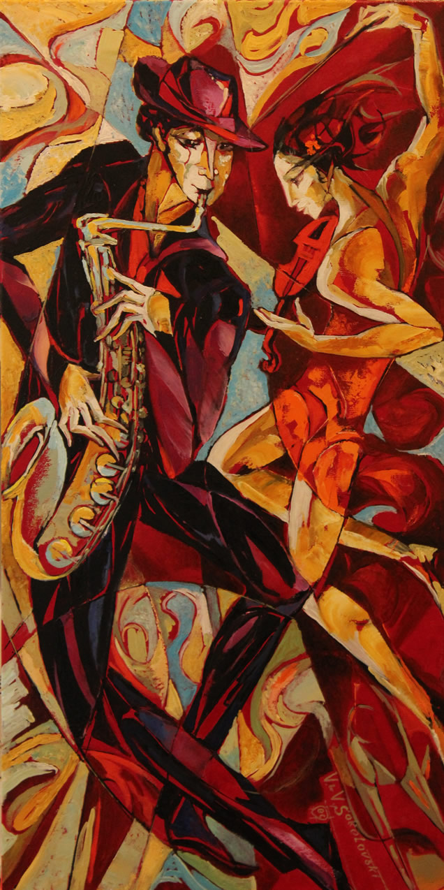 VALERI SOKOLOVSKI  Dance in Orange Original Oil 36 X 18
