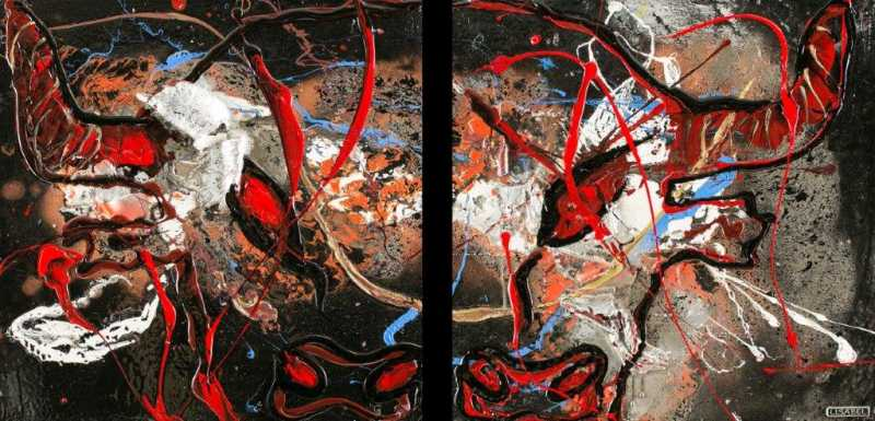 LISABEL  Your Arms Around Me Original Mixed Media Diptych 24X48