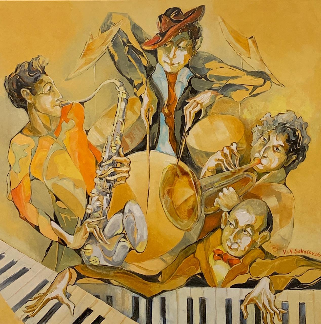 VALERI SOKOLOVSKI  Piano Jam Original Oil 36 X 36
