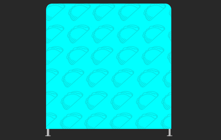 A custom designed backdrop for photo booths that is turquoise and has a line of Tacos going across the background.