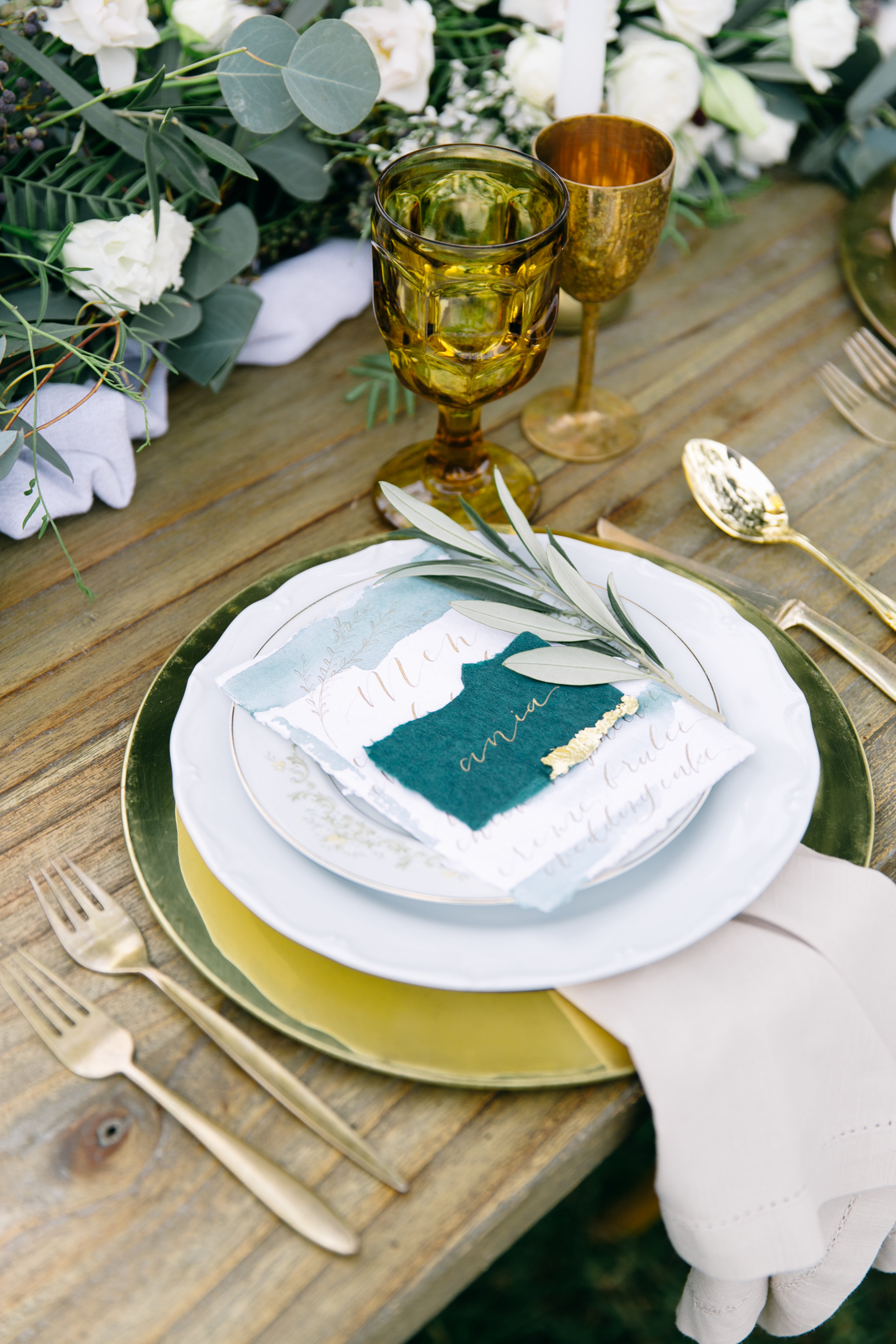 Romantic Wedding Place Cards on Handmade Paper with Gold Leaf