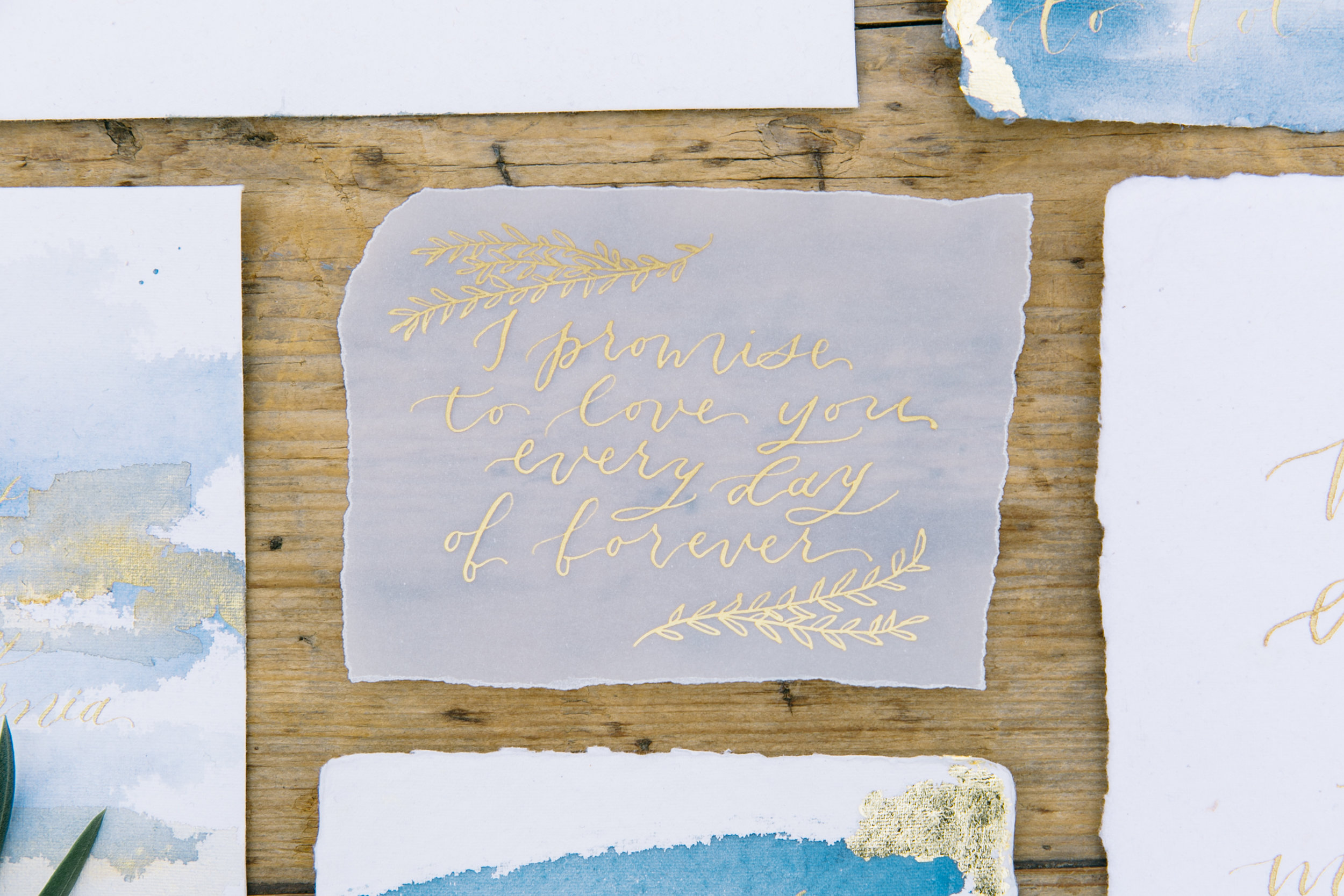 Romantic Wedding Invitations with Handmade Paper Vellum and Gold Leaf