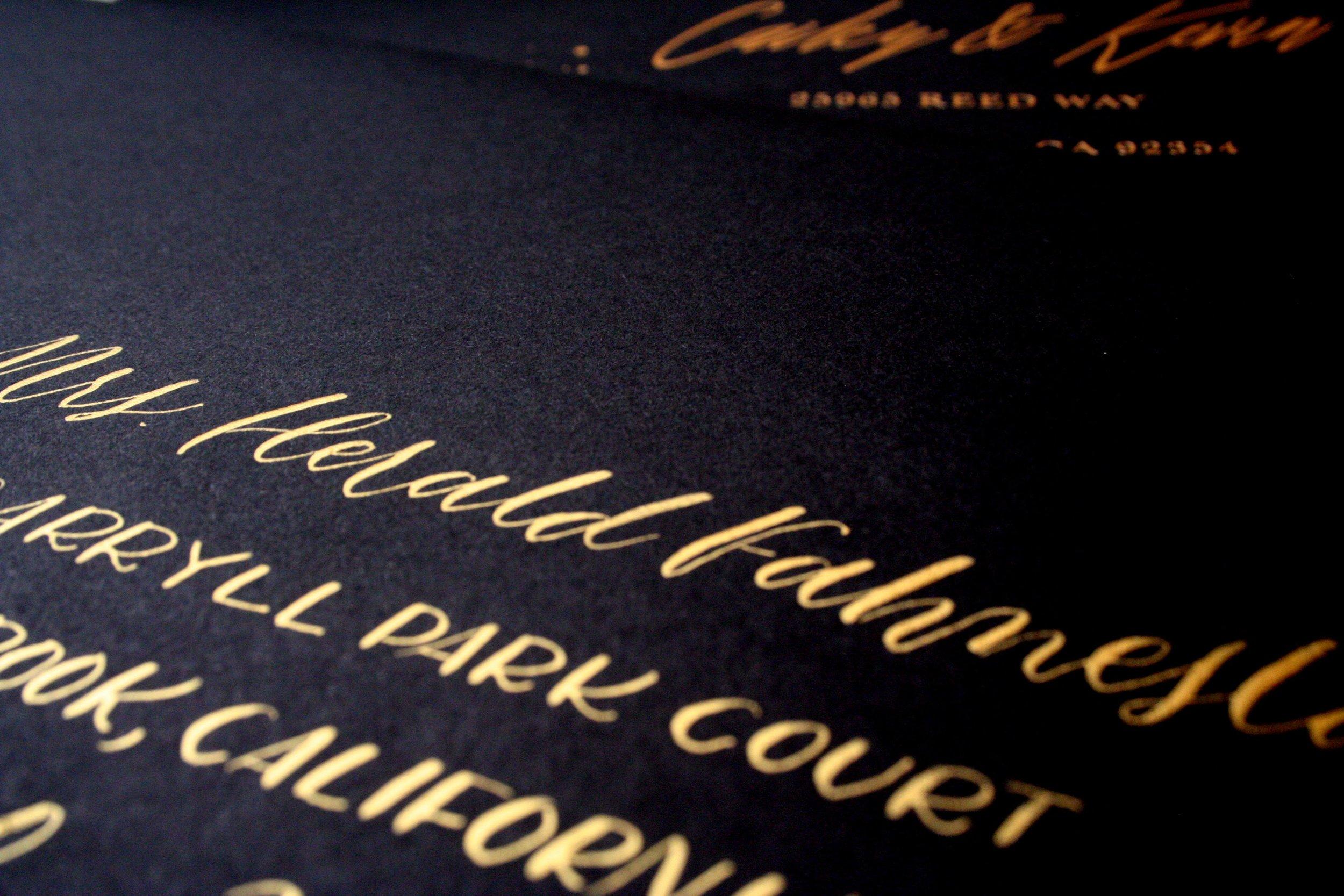 Black Gold Calligraphy Invite