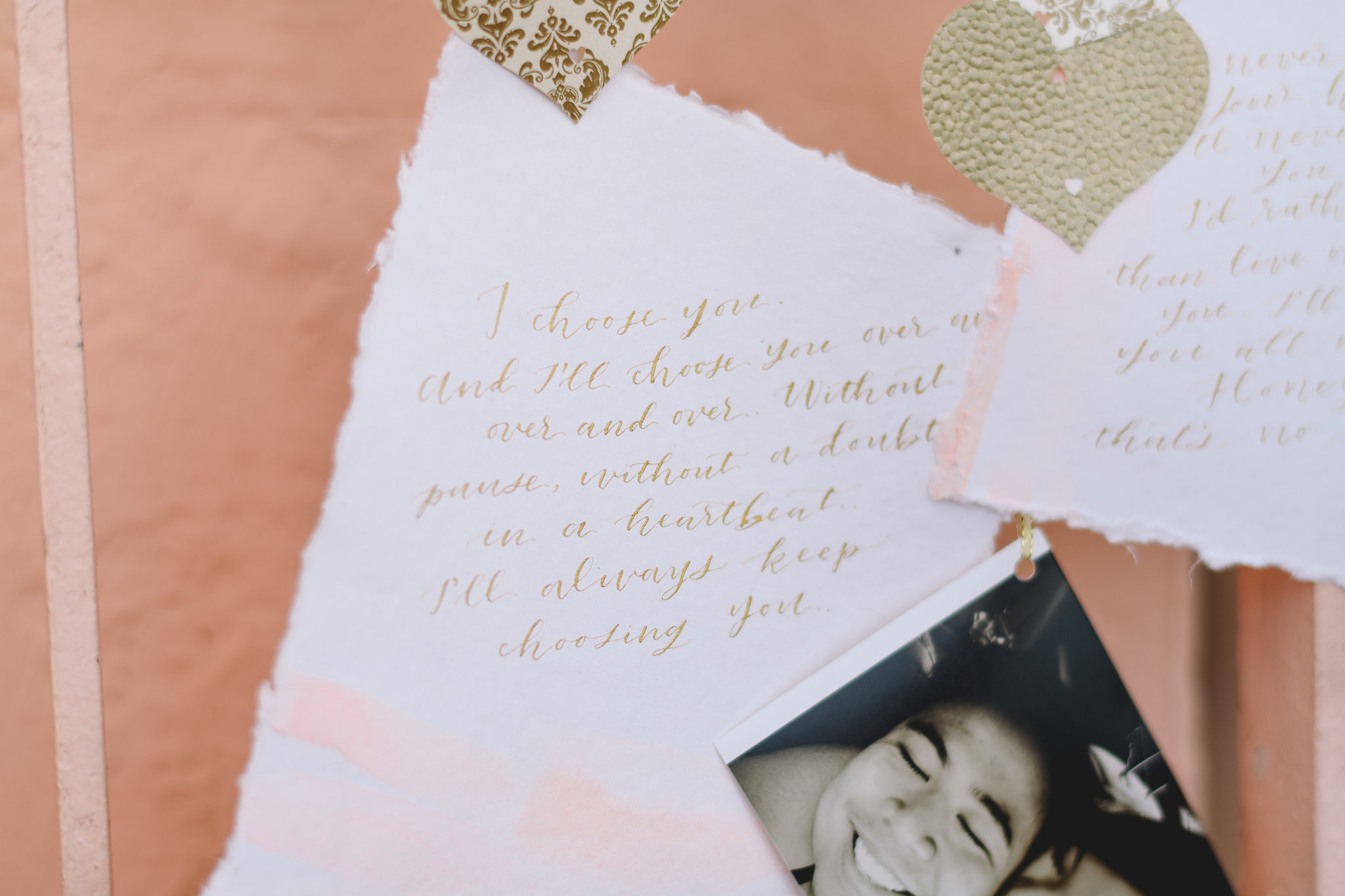 Pink and Gold Calligraphy Poem
