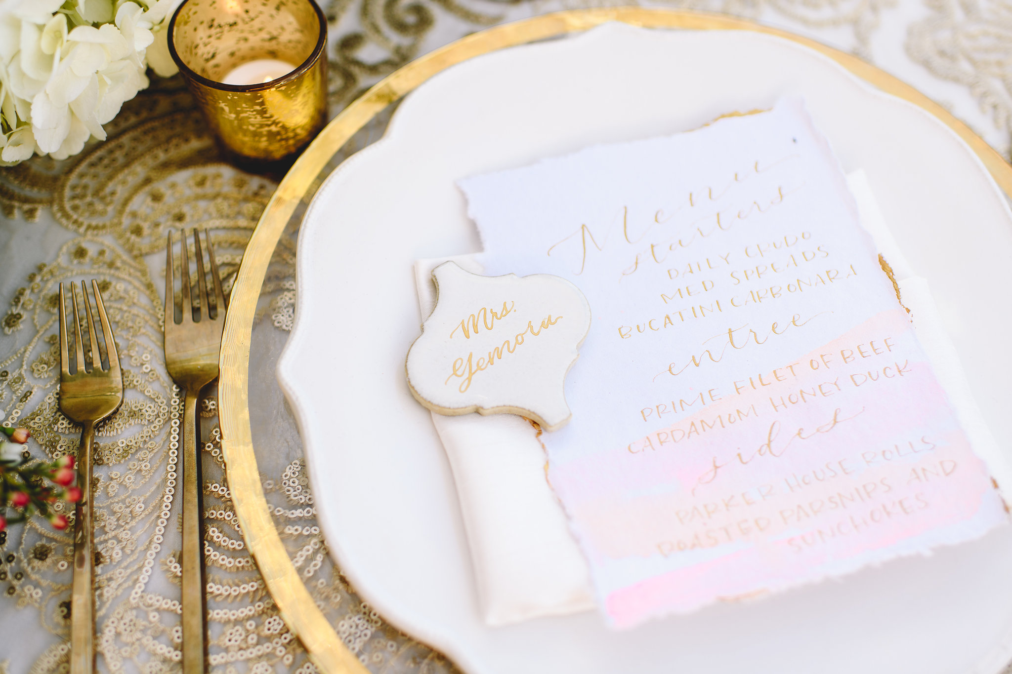 Pink and Gold Tile Place Cards