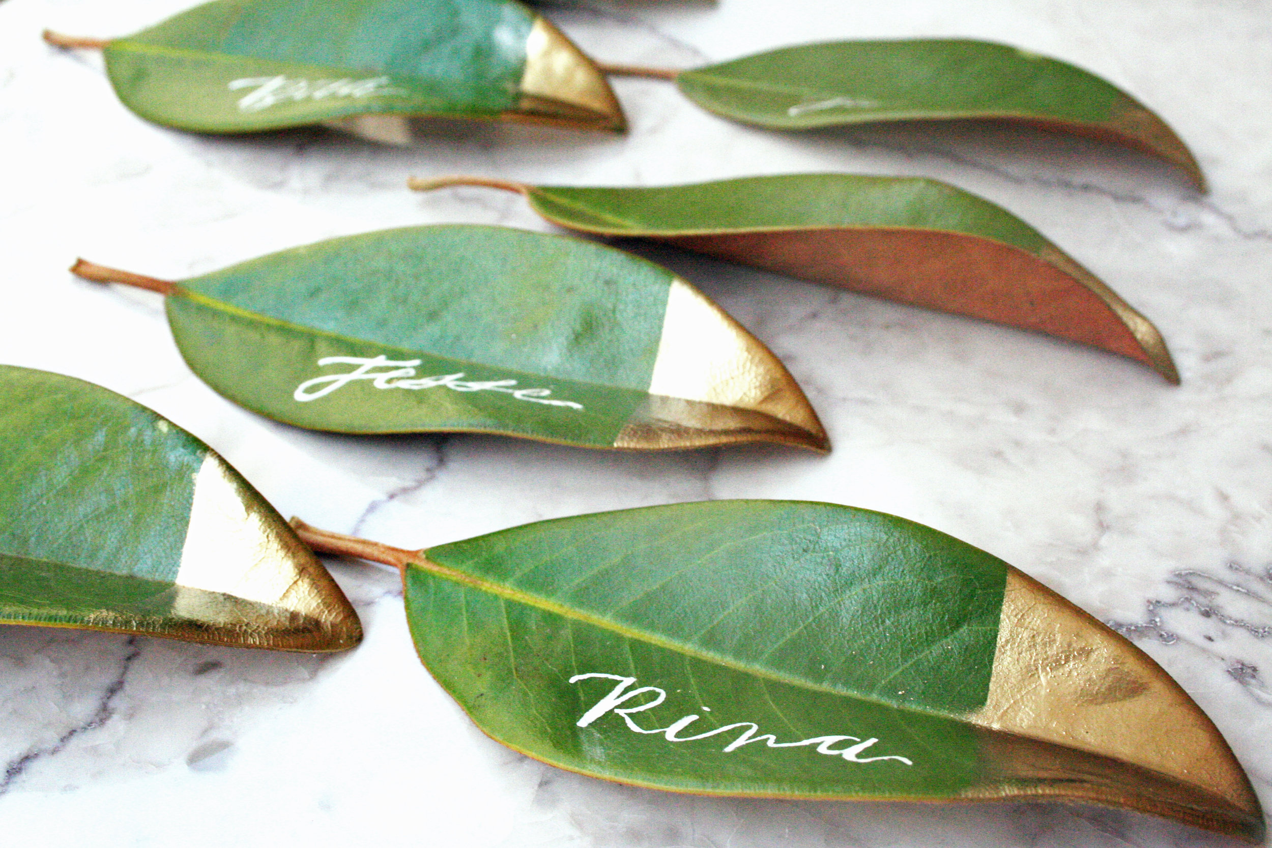 Gold Painted Magnolia Leaf Place Cards