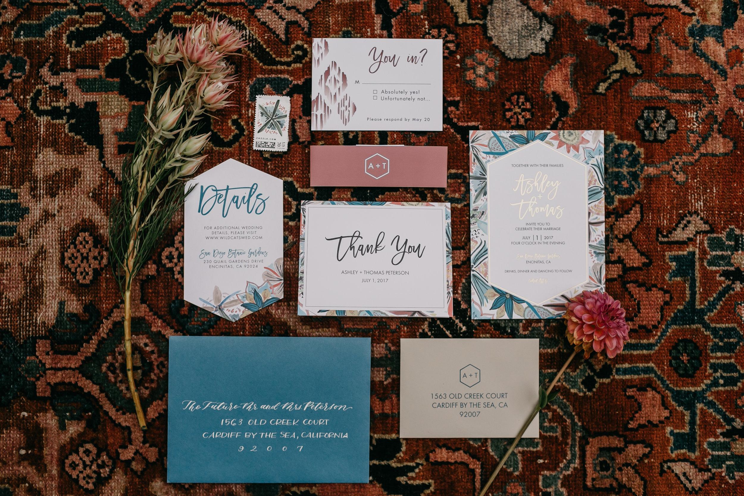 flower watercolor modern wedding invitation