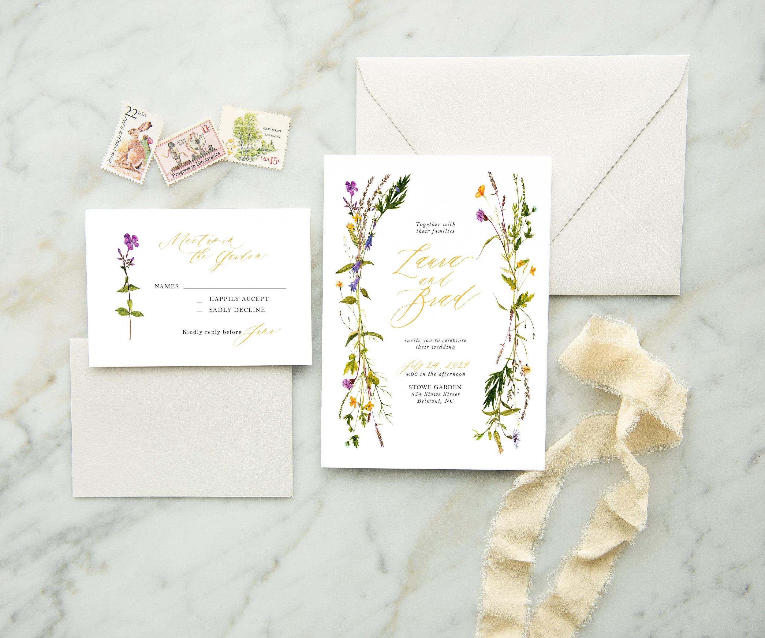 wildflower wreath wedding invite