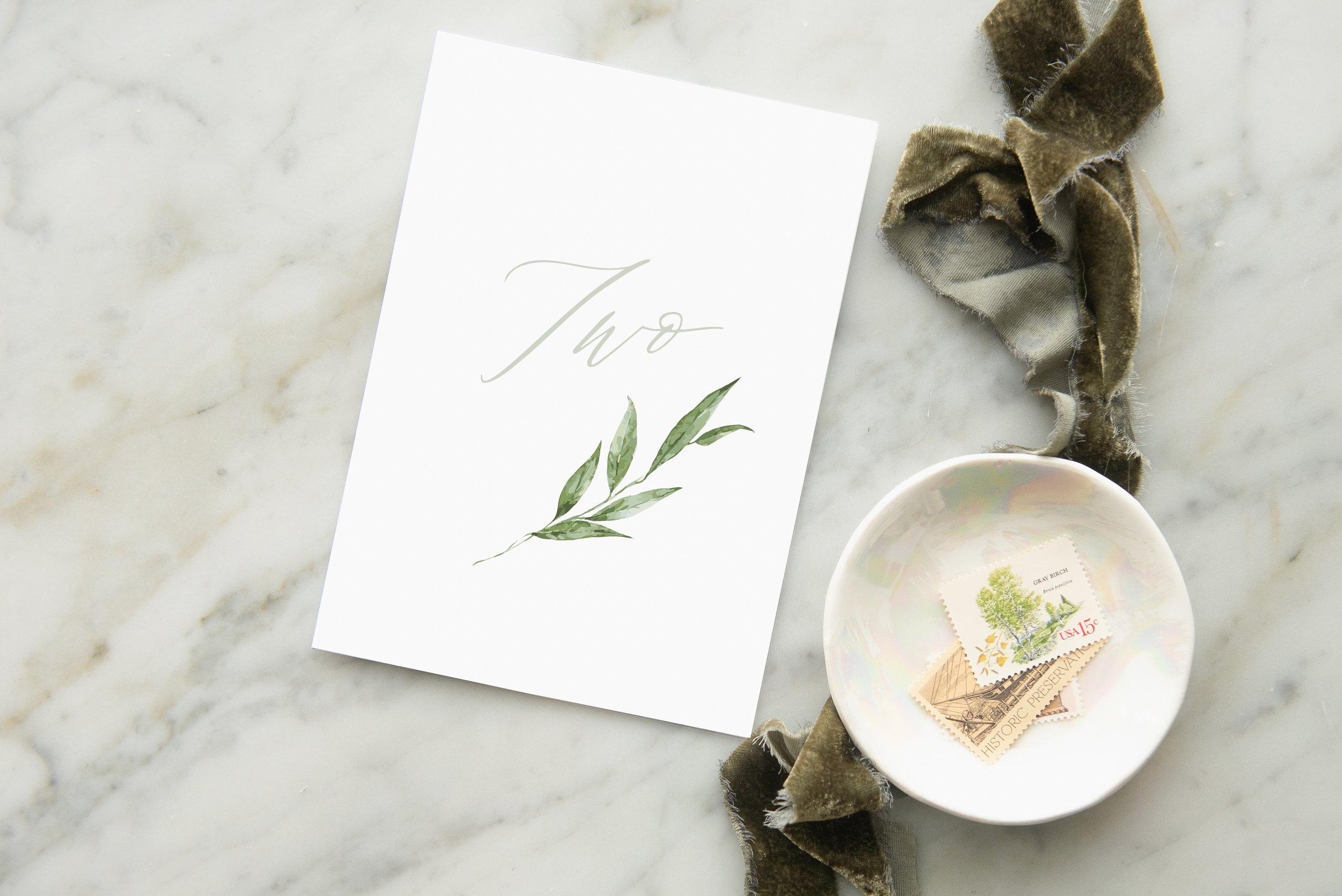 olive sprig table number