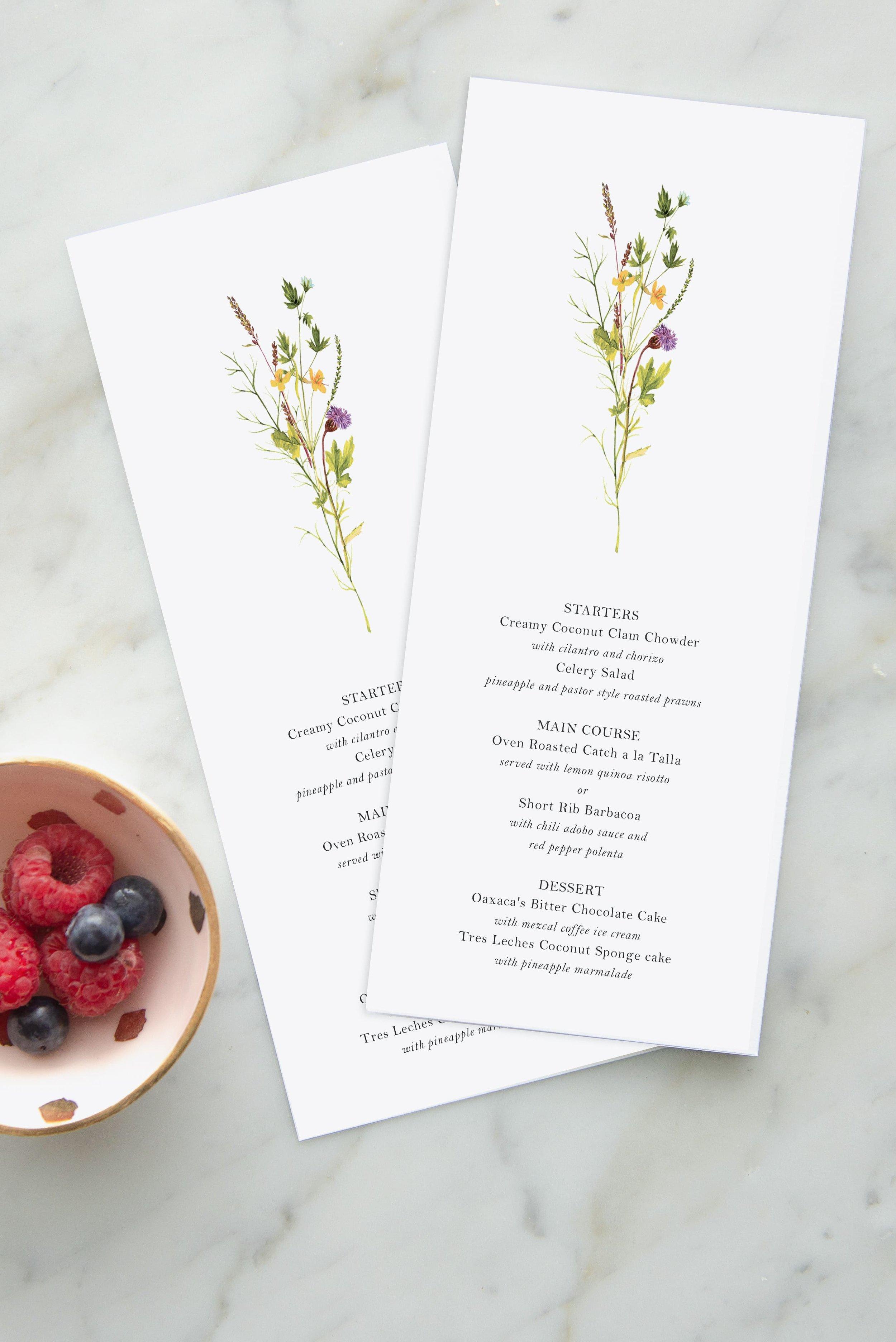 Wildflower bouquet wedding menu