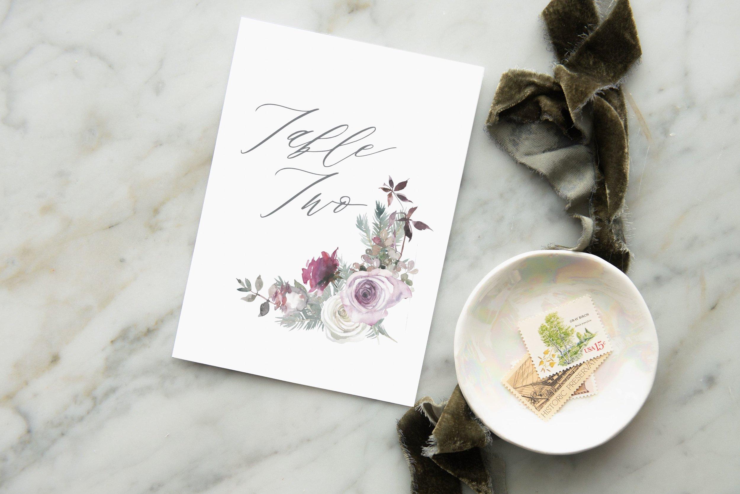 romantic watercolor rose table numbers