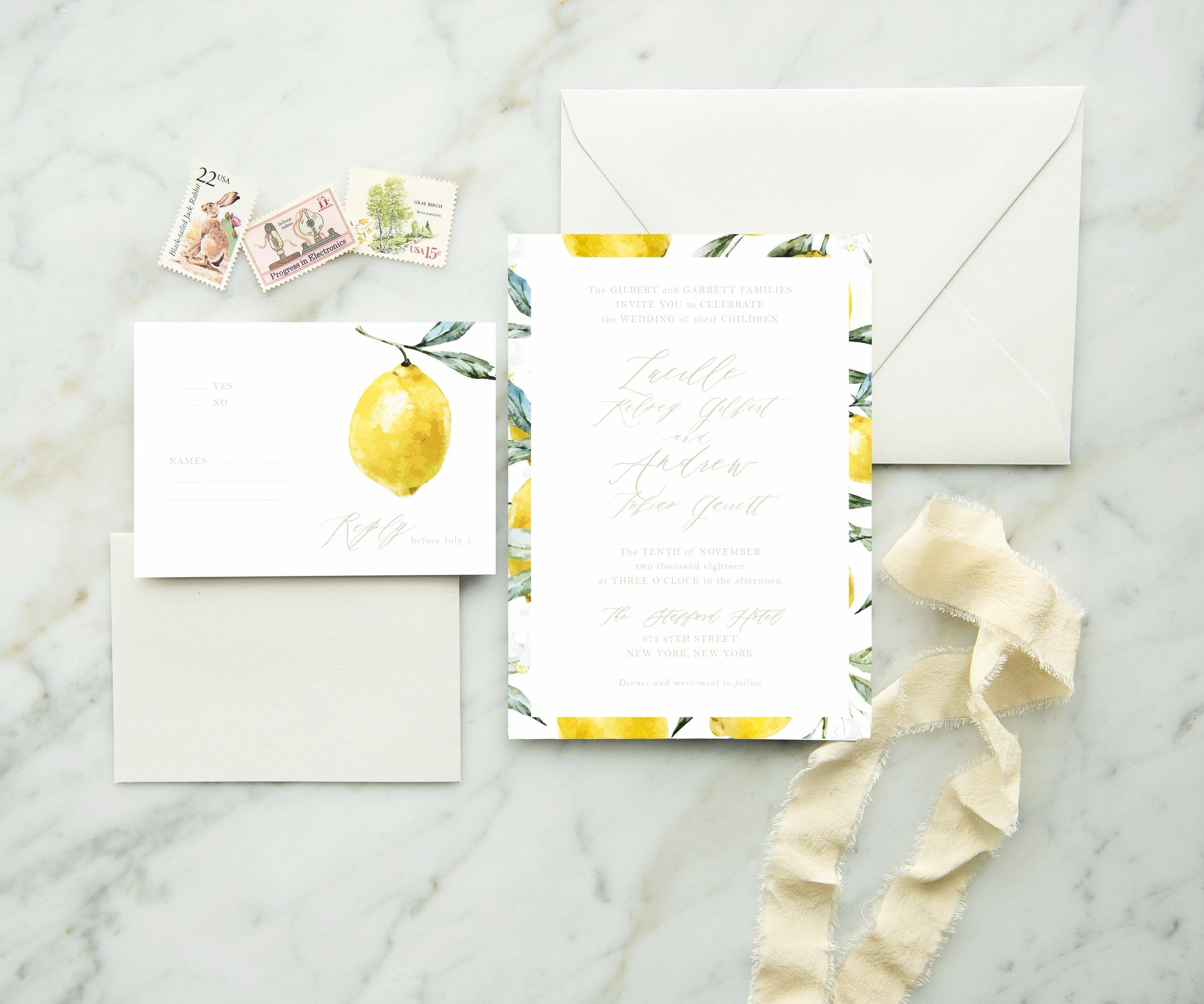 watercolor lemon wedding invitations
