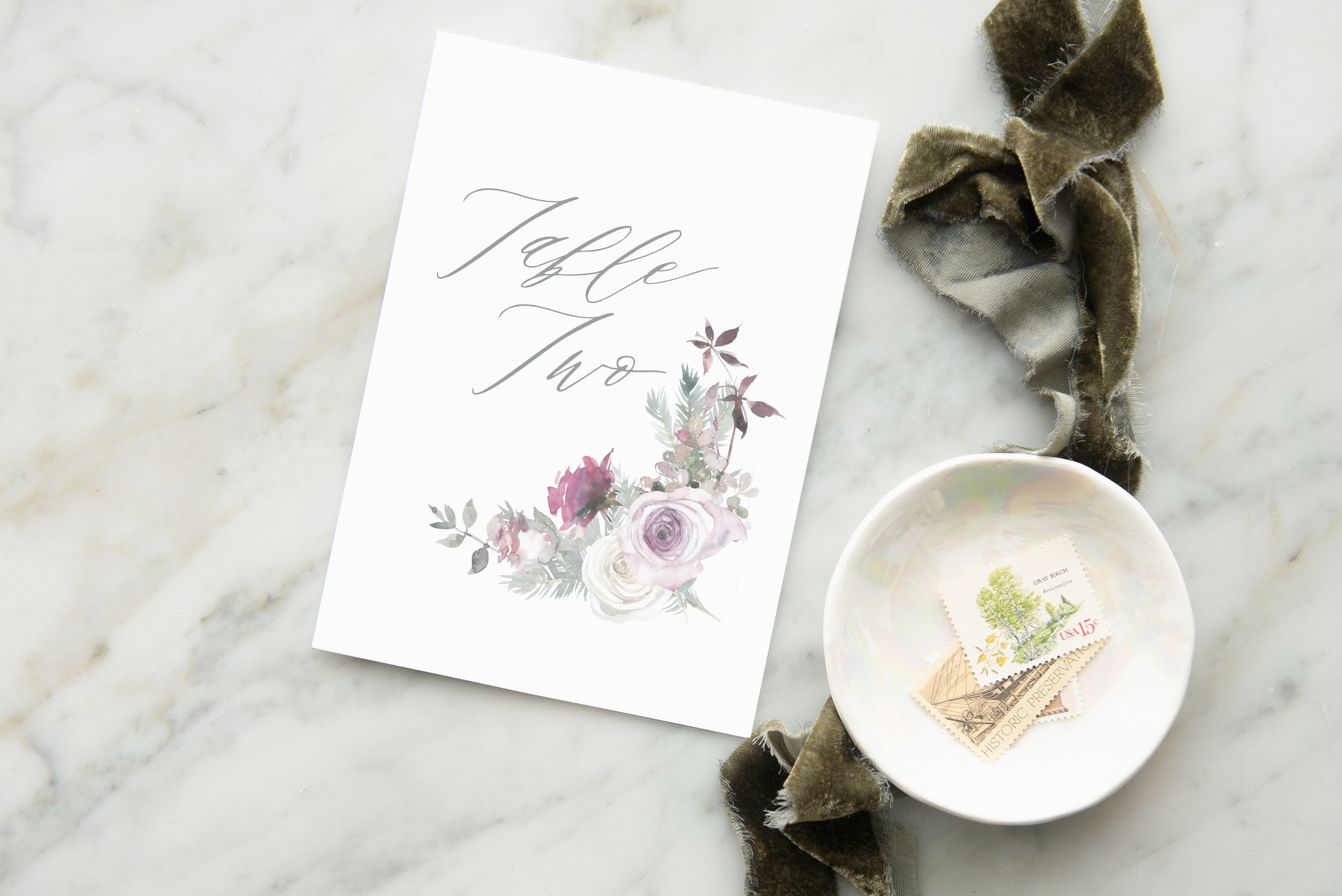 watercolor roses table numbers