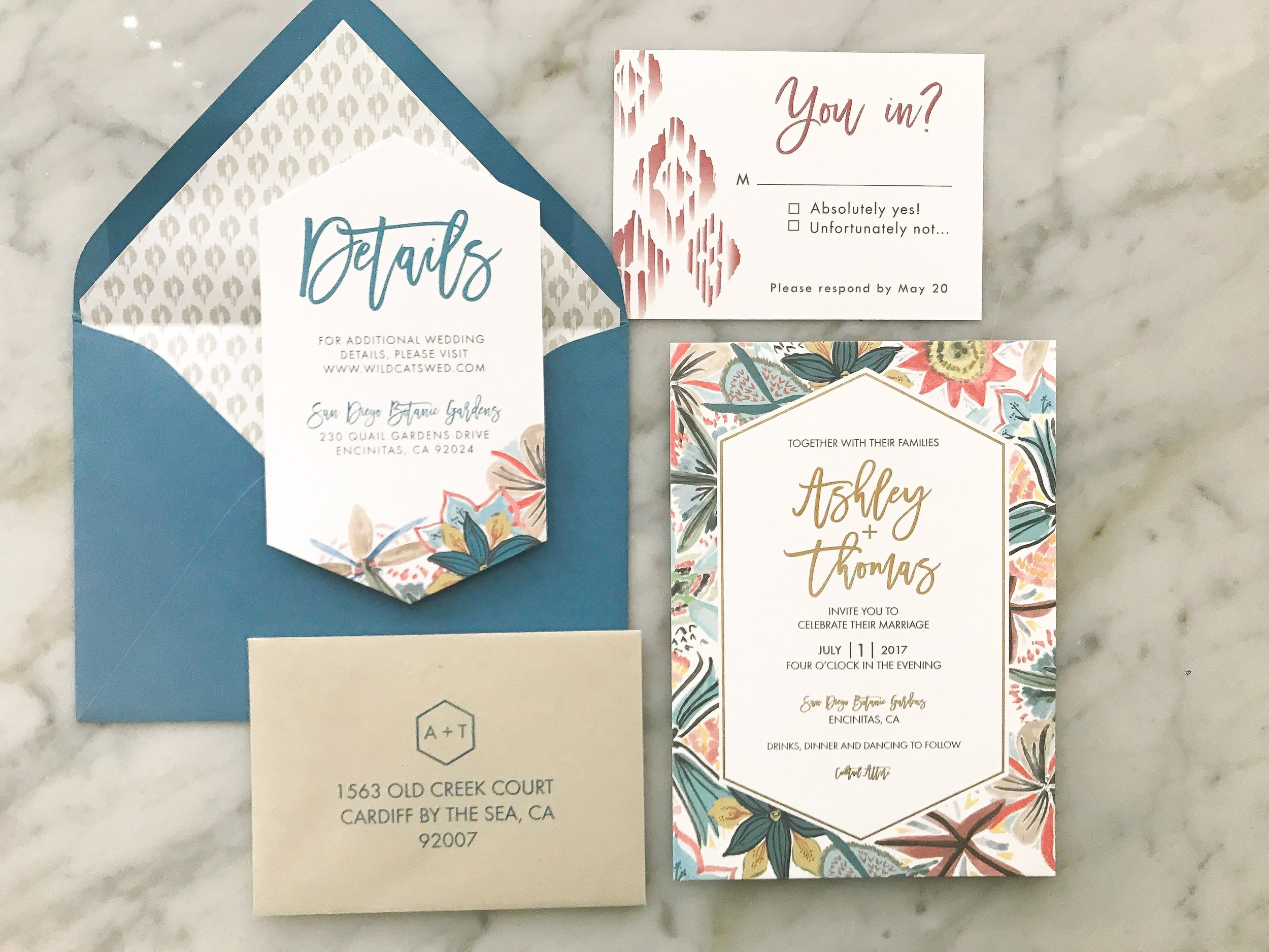 floral invitations with gold foil stamping