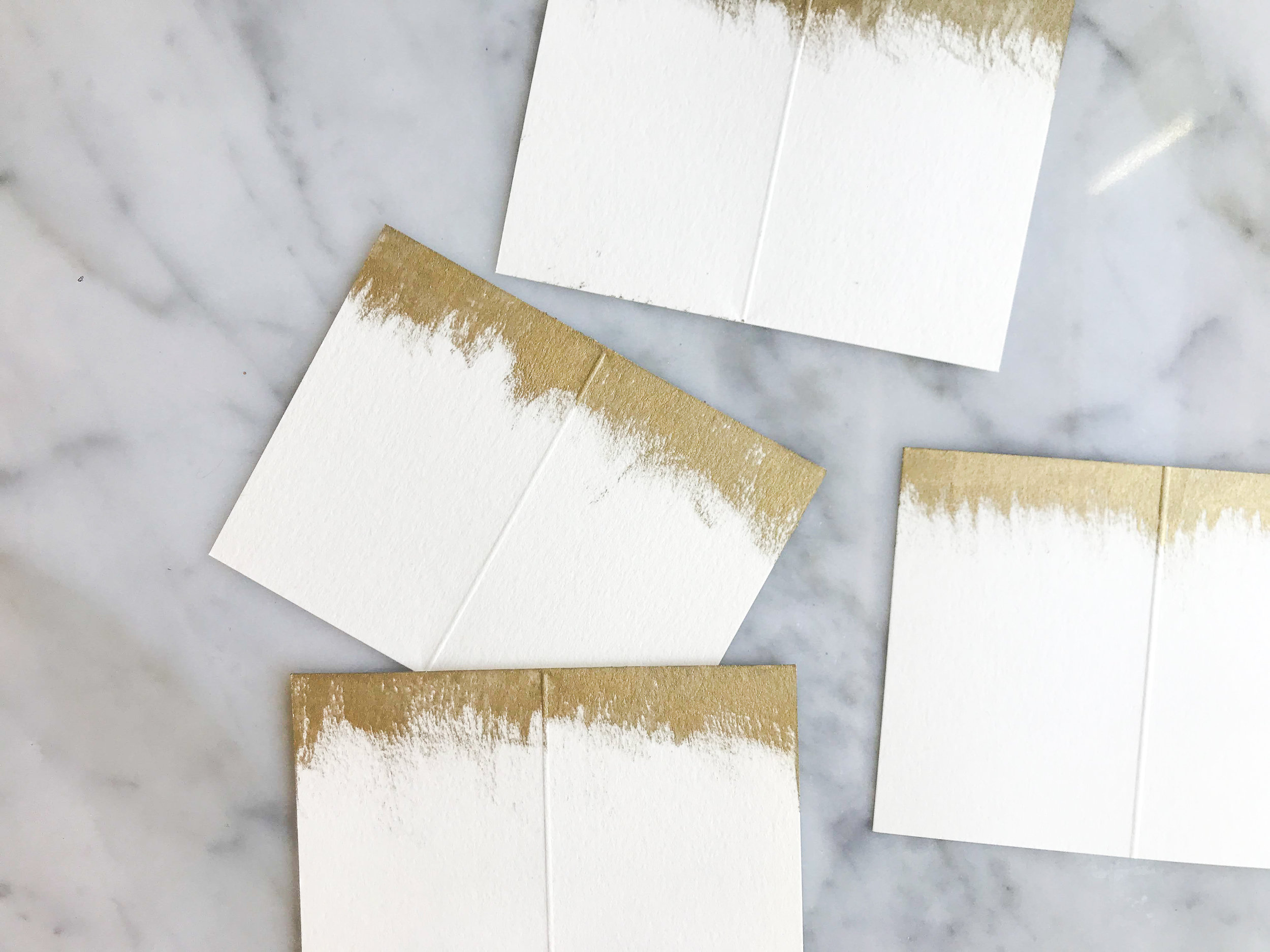 gold brushed place cards