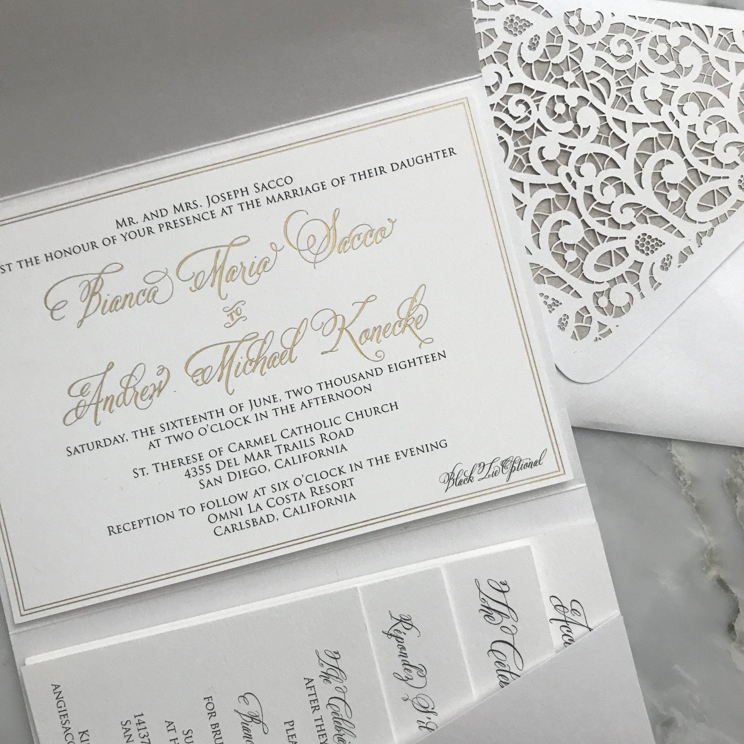 White Classic Wedding Invitation