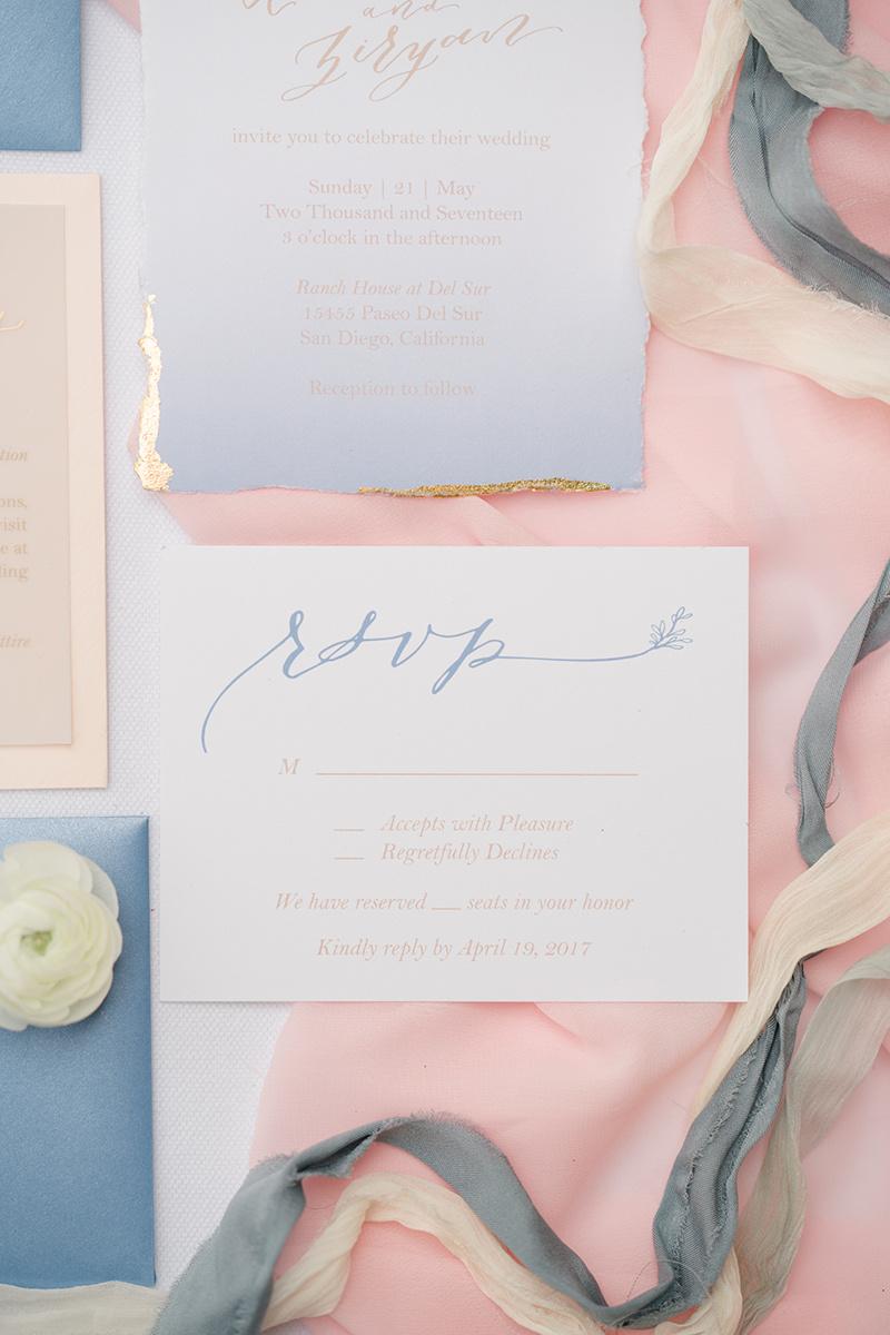 boho dusty blue wedding invitations