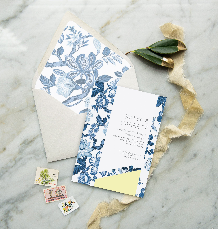 modern blue china wedding invite