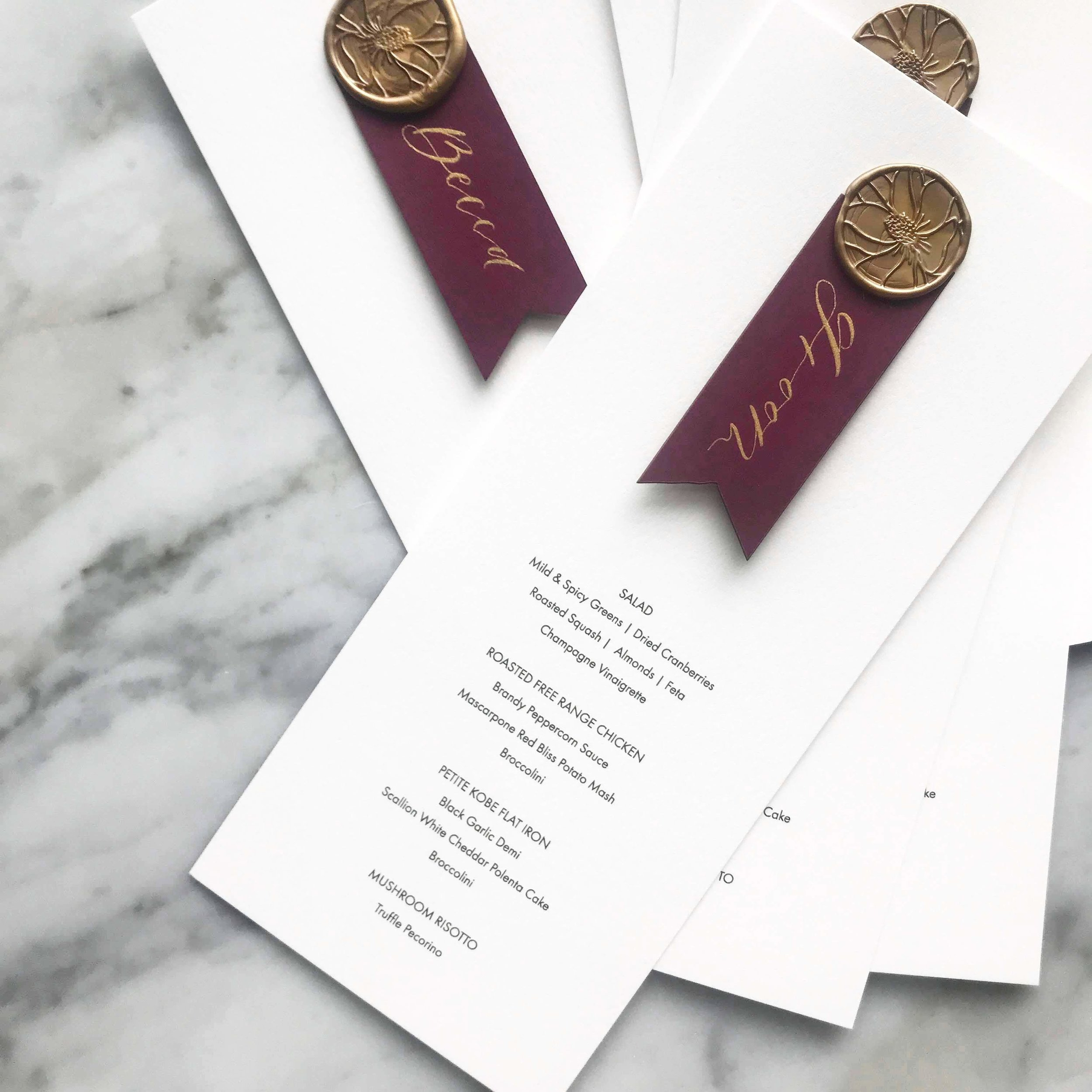 burgundy wedding menu