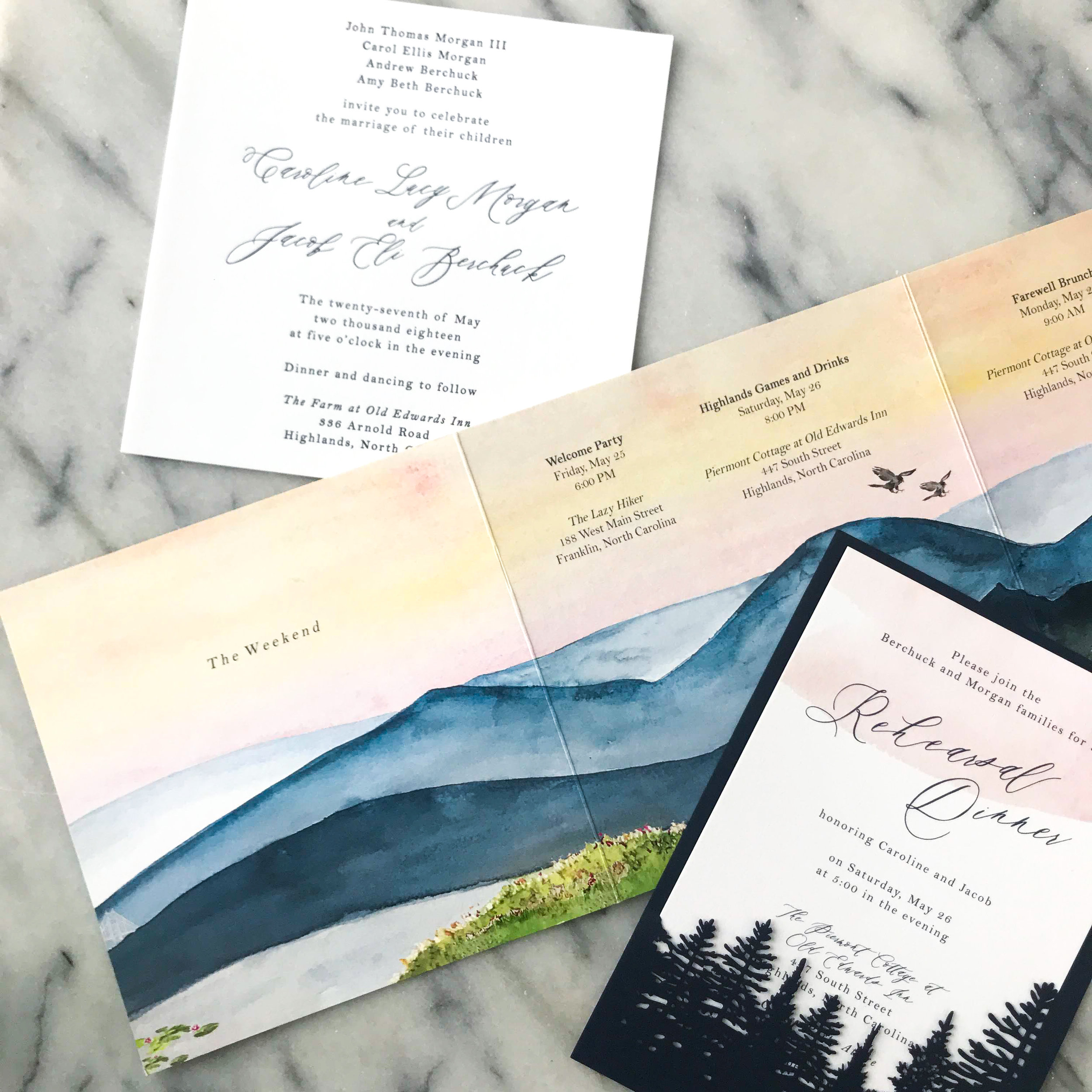 custom watercolor invites