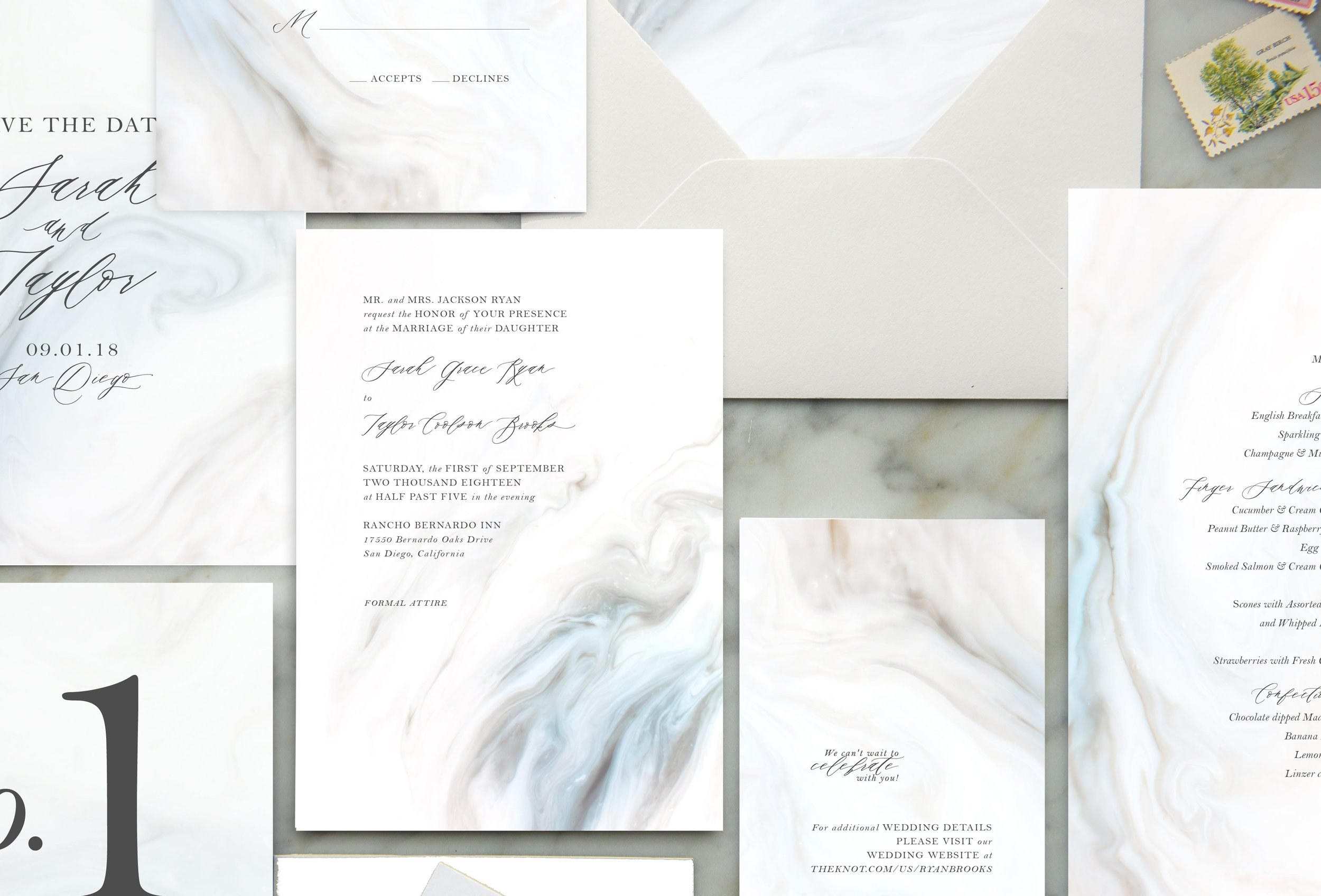 blue marble wedding invitations