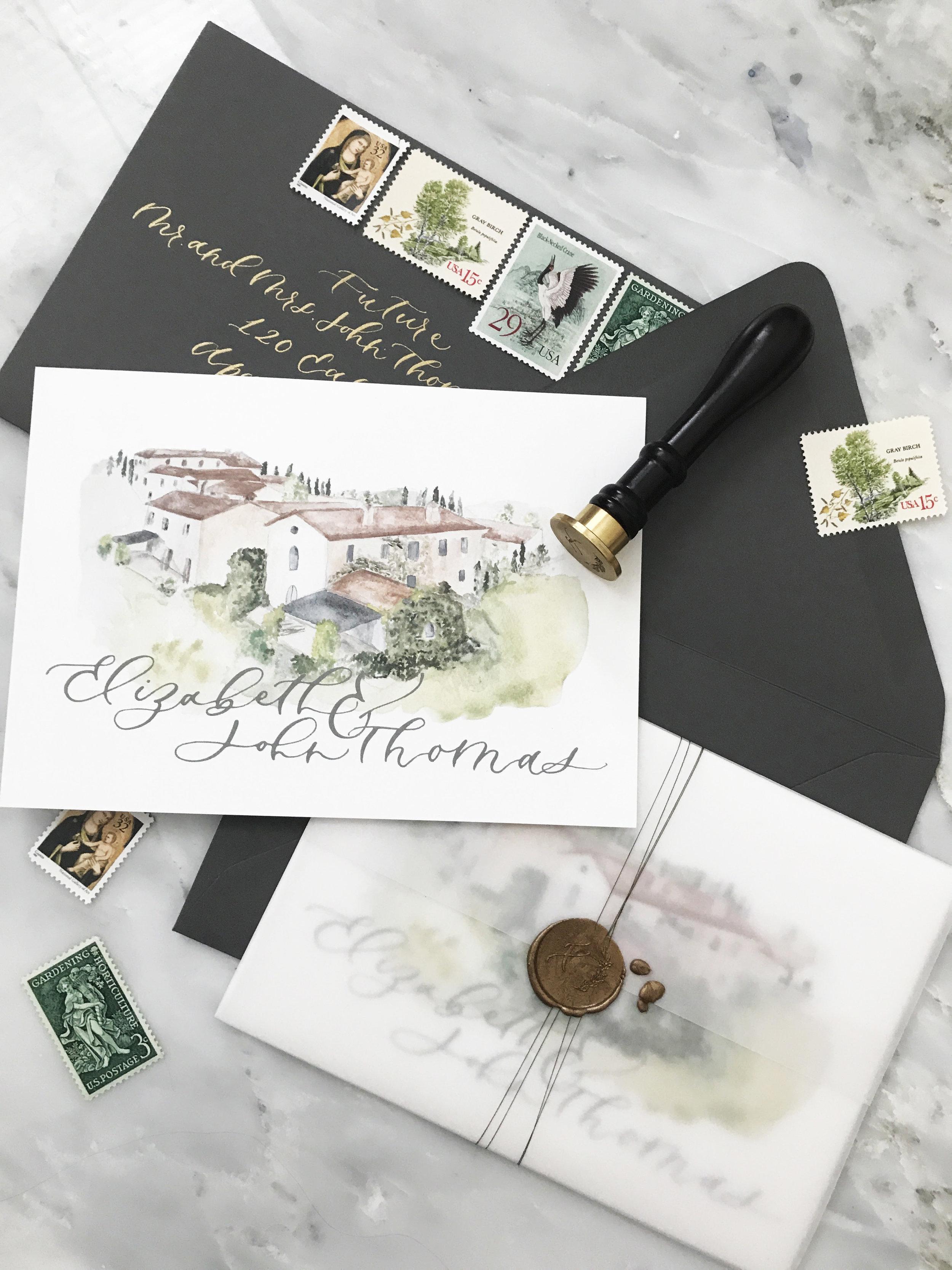 italy tuscany wedding invitation