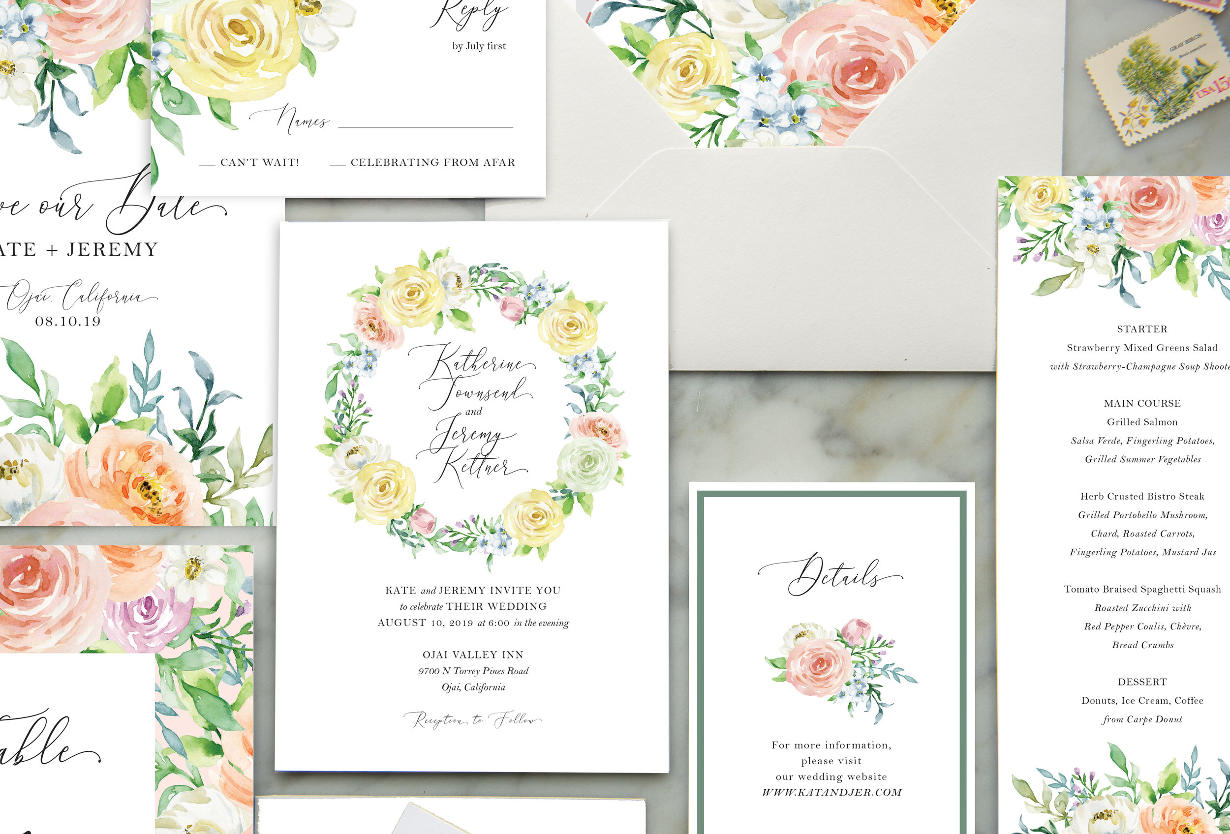 spring flowers wedding invitation