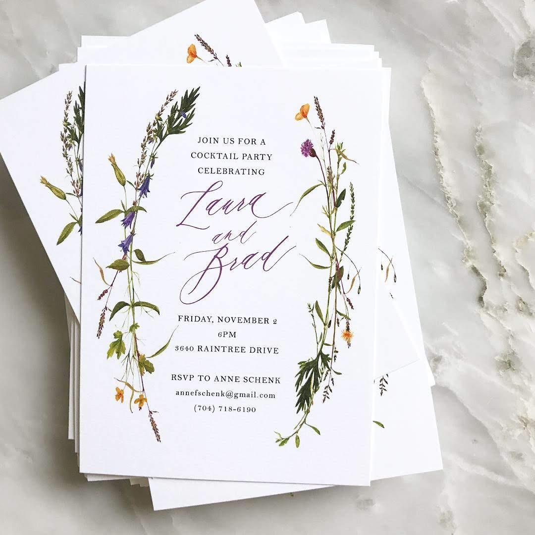wildflower wreath invitations