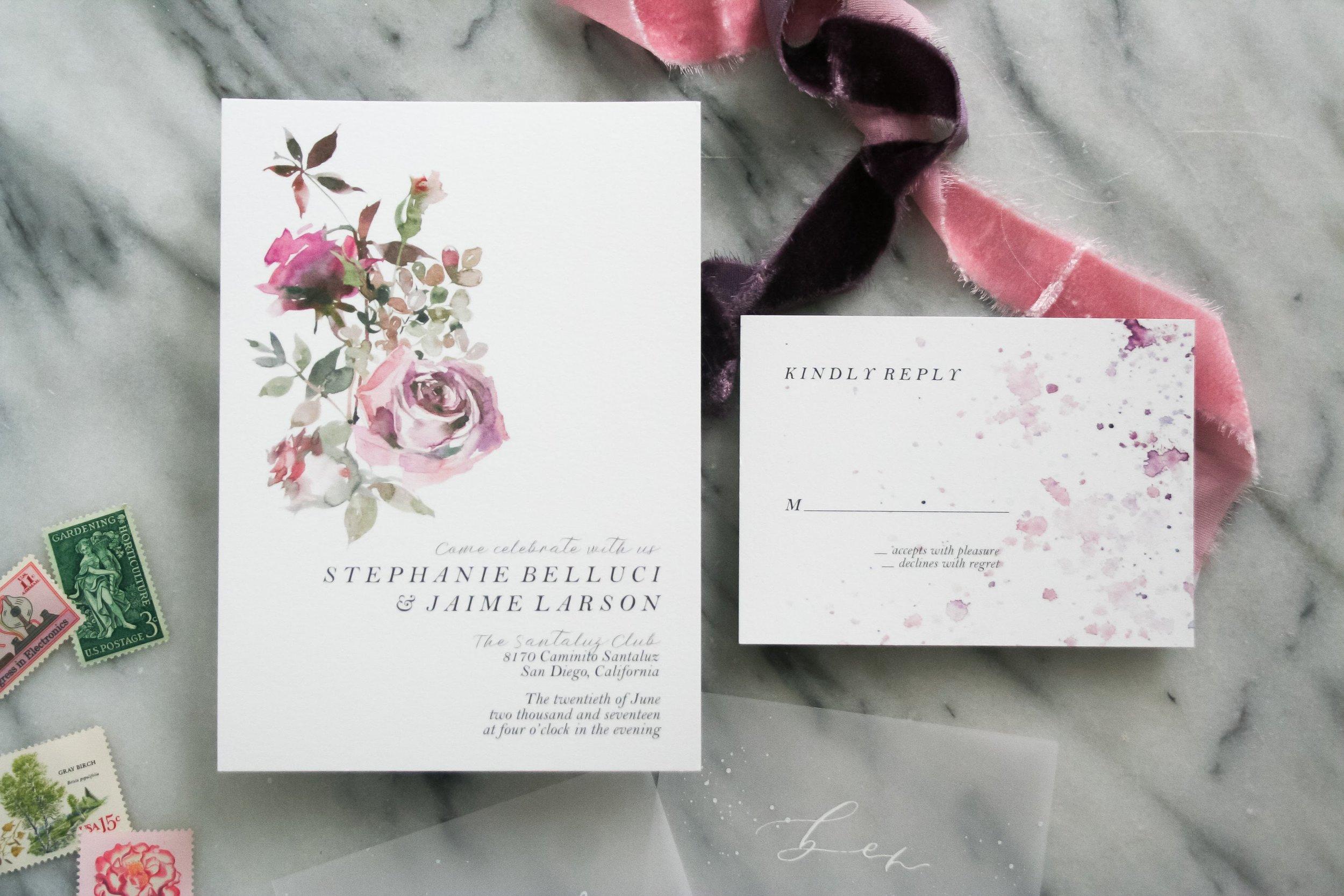 Watercolor Roses Invitations