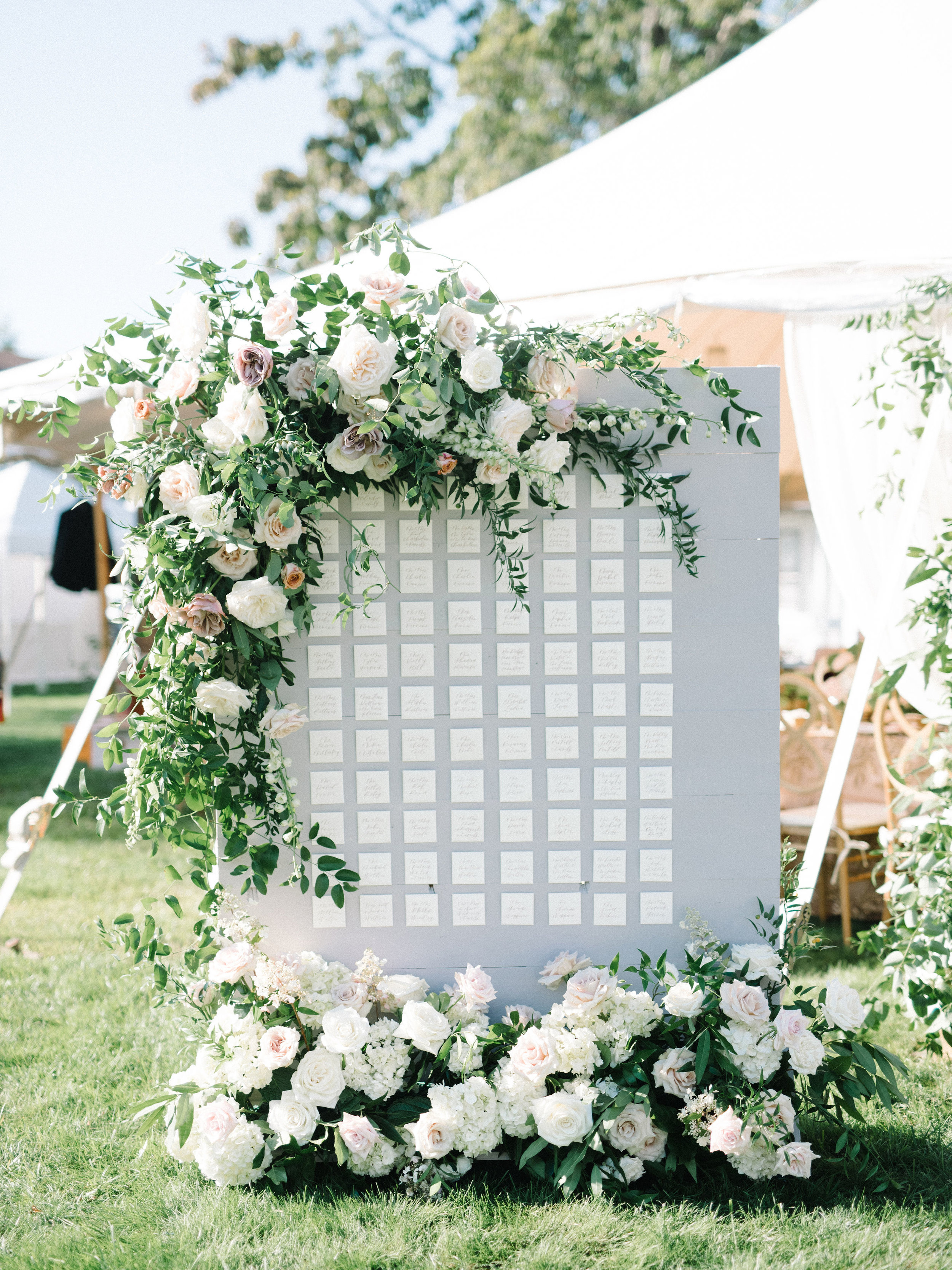 Dusty Rose Floral Calligraphy Seating Chart Wedding