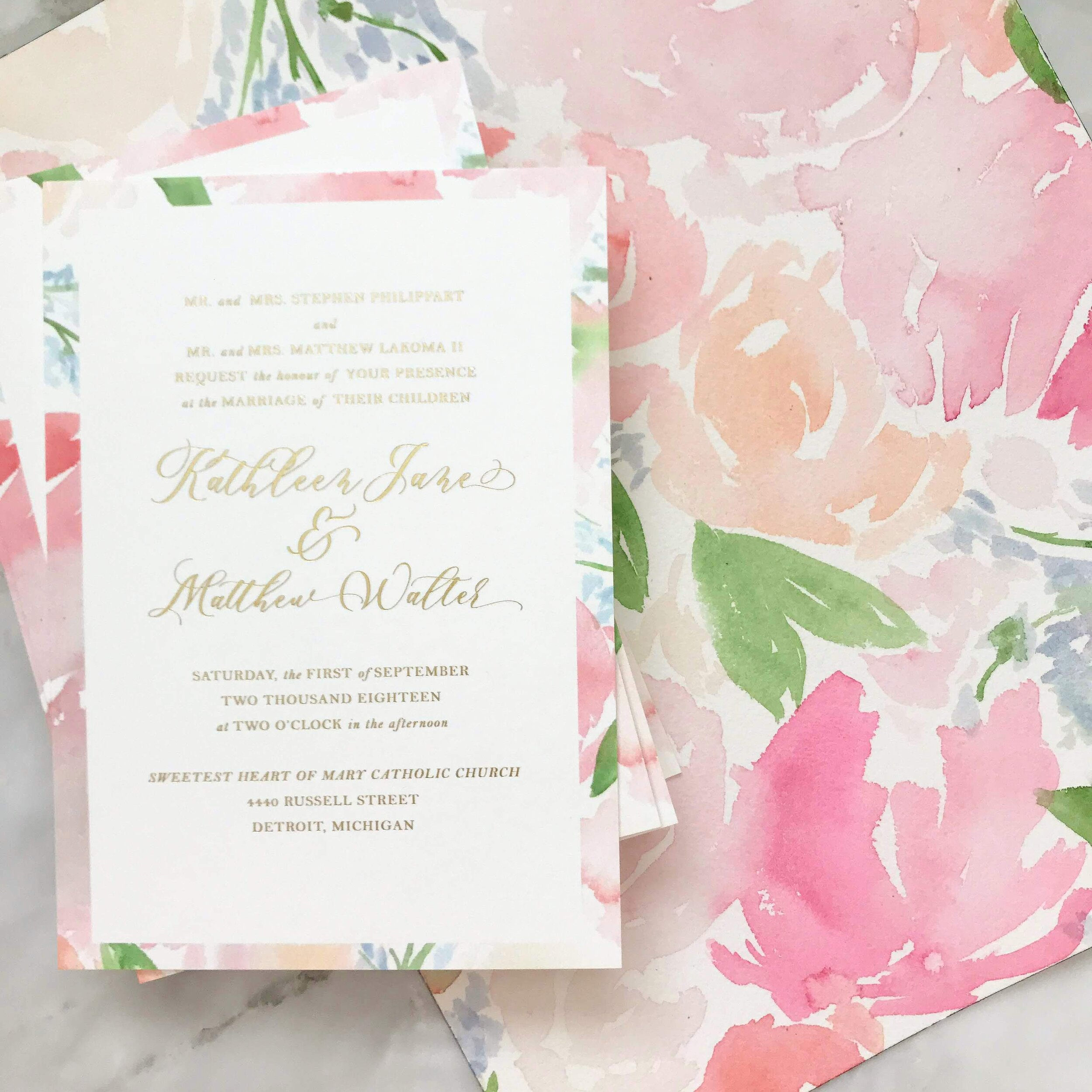 Gold Foil and Watercolor Florals Wedding Invitations