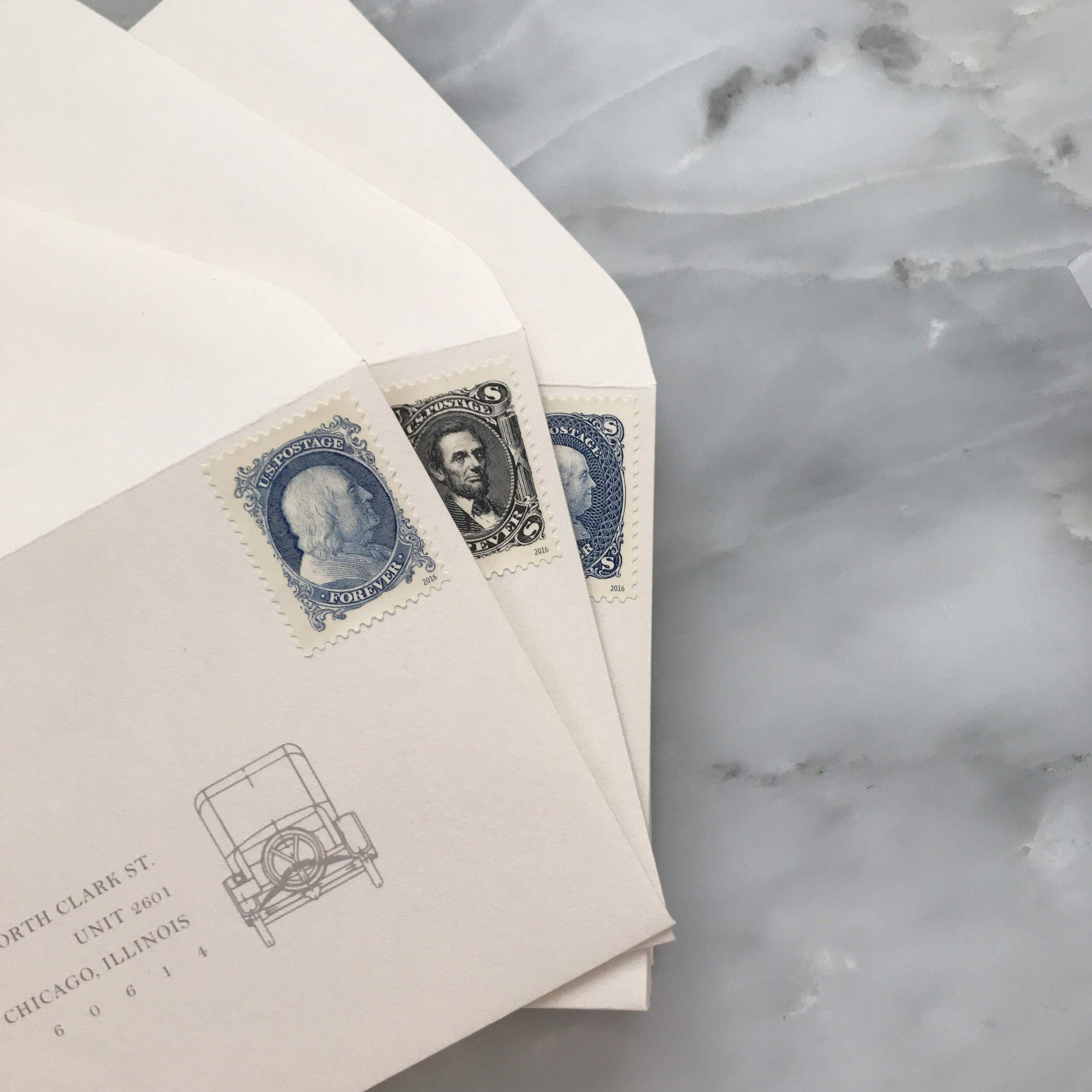 RSVP Envelopes with Vintage Stamps