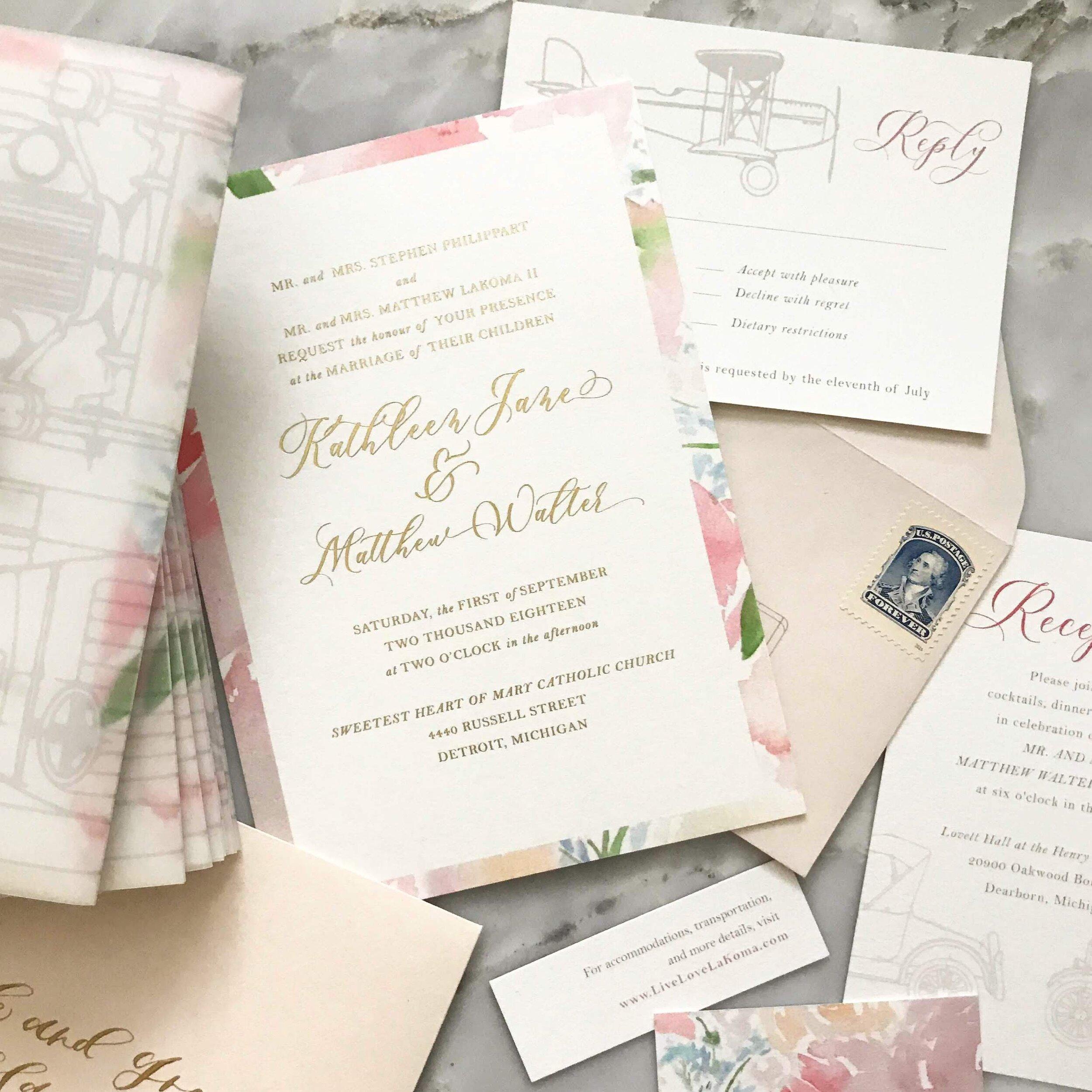 Pink Watercolor Wedding Invites