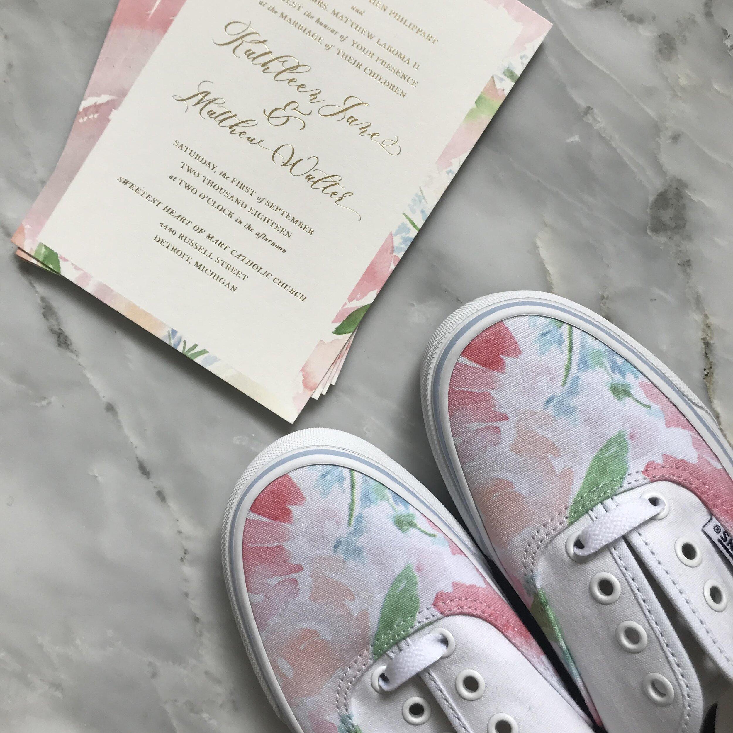 Custom wedding Vans sneakers watercolor