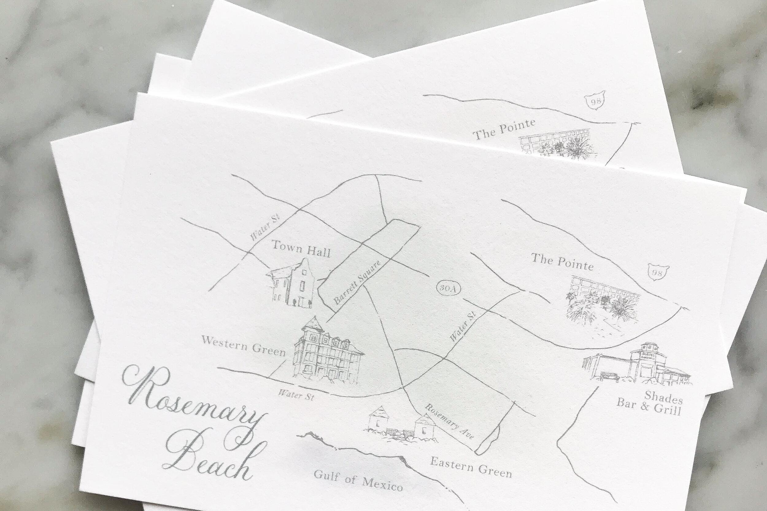 Rosemary Beach Wedding Invitation Map