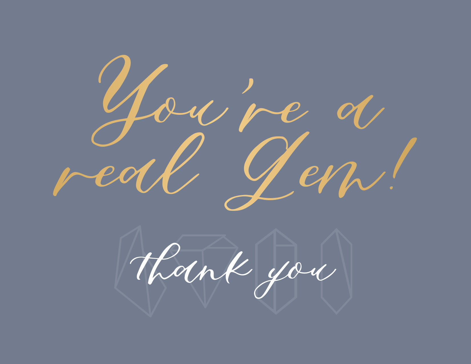 Thank you card ft. modern calligraphy font Sapphire Script