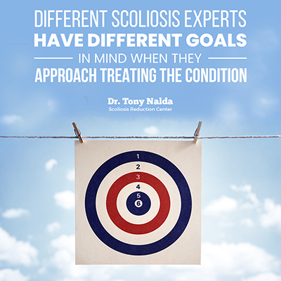 Different scoliosis experts have different goals in mind when they approach treating the condition.