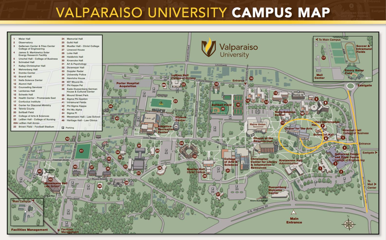 Valparaiso University Map to Recital Hall.png