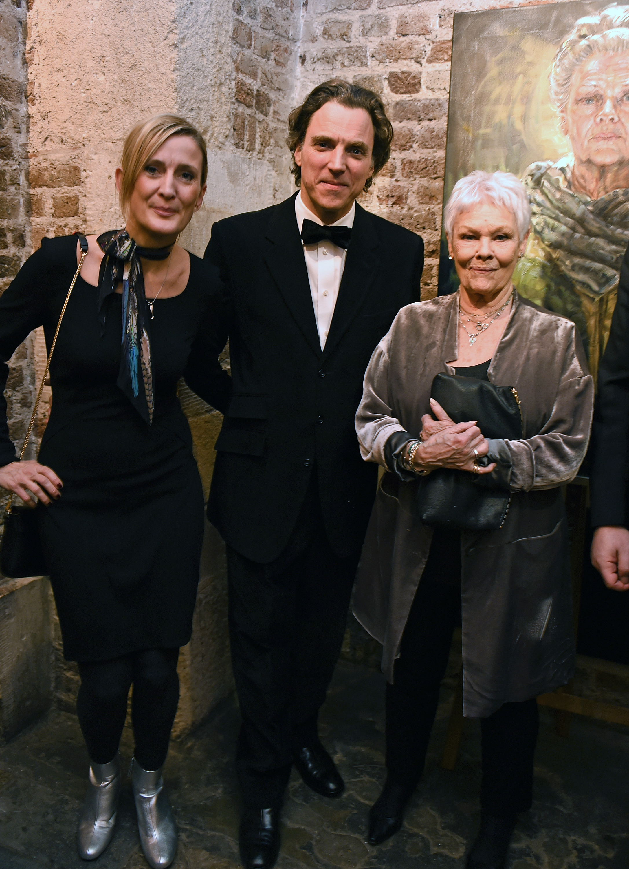 Lee Sharrock, Alexander Newley & Dame Judi Dench  St Martin-in-the-Fields gala dinner & auction of Alexander Newley portraits