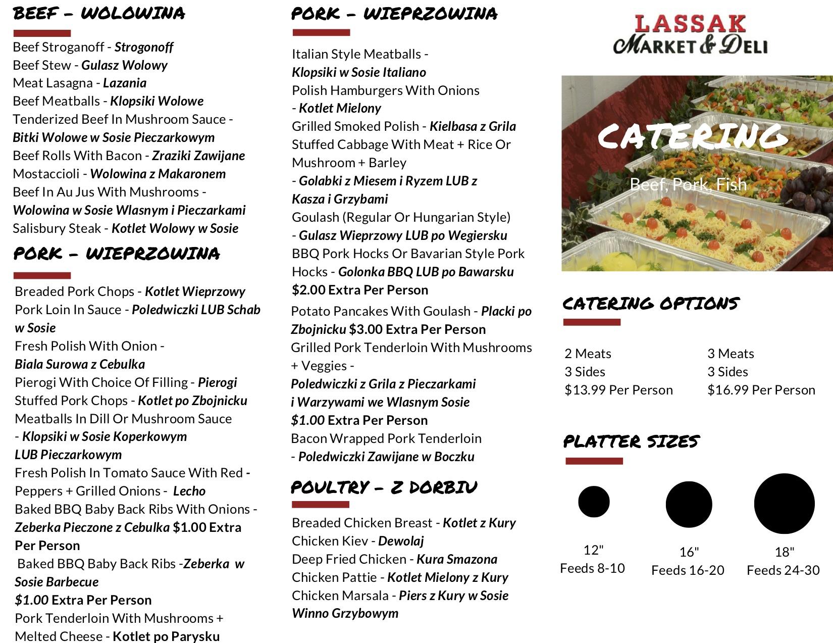 Lassak Market & Deli Catering Brochure