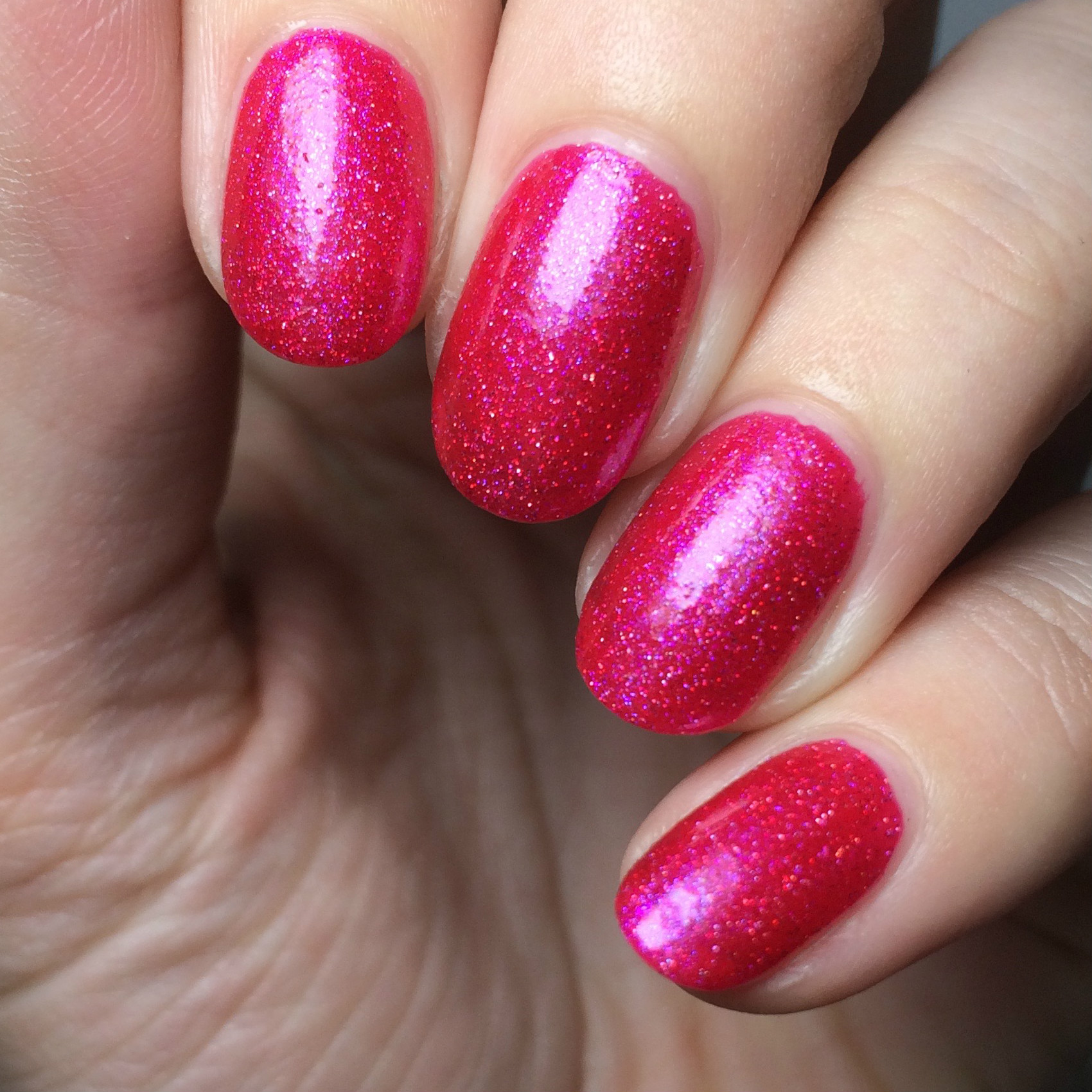 Two coats and no topcoat, just to show the coverage. Very opaque and saturate for a jelly!