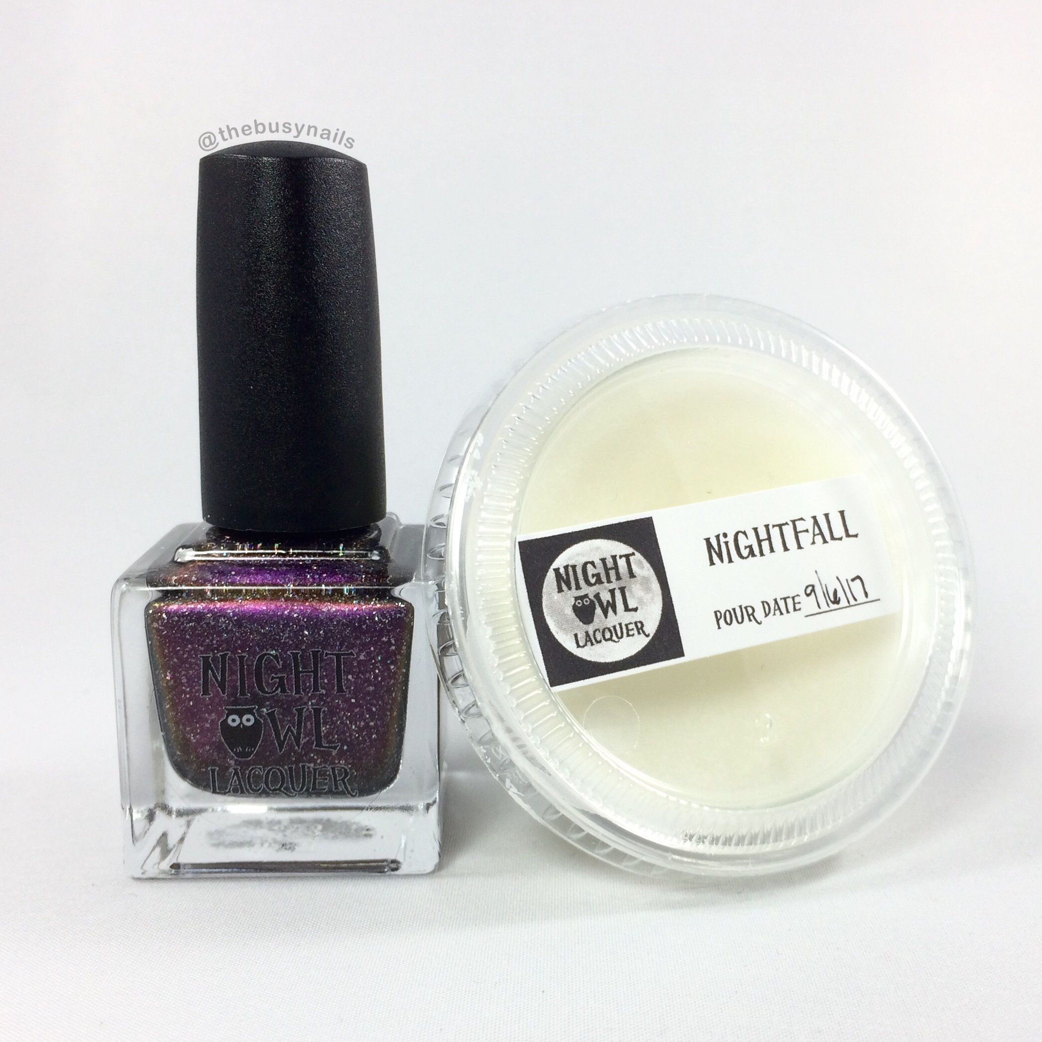"""Nightfall"" polish and wax melt. (Maker note: the wax melt packaging will likely change. It will be in the oval containers and will probably be colored.)"