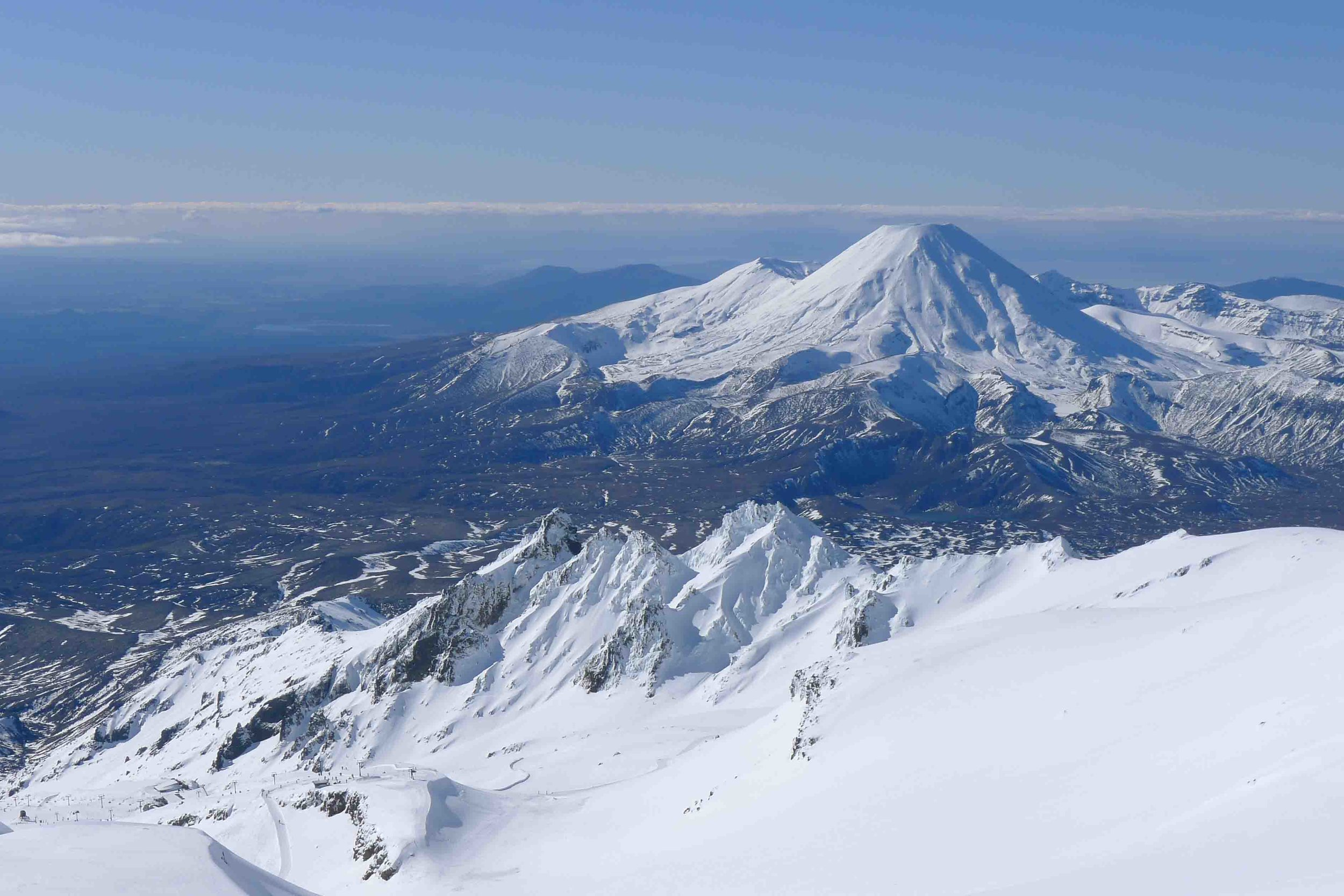 The world at our feet. Mounts Tongariro and Ngauruhoe from Mount Ruapehu, in August