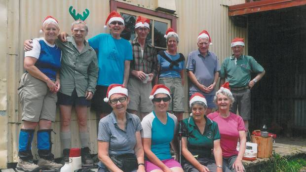 Wanganui trampers enjoy a 2014 pre-Christmas luncheon at Field Hut in the western Tararua