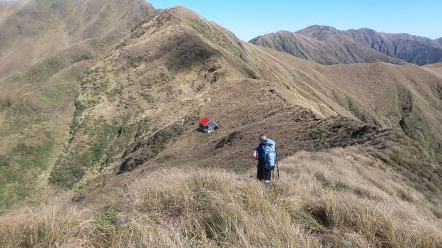 big country: Wanganui Tramping Club member Kathy O'Donnell approaches Tarn Ridge hut in Tararua Forest Park