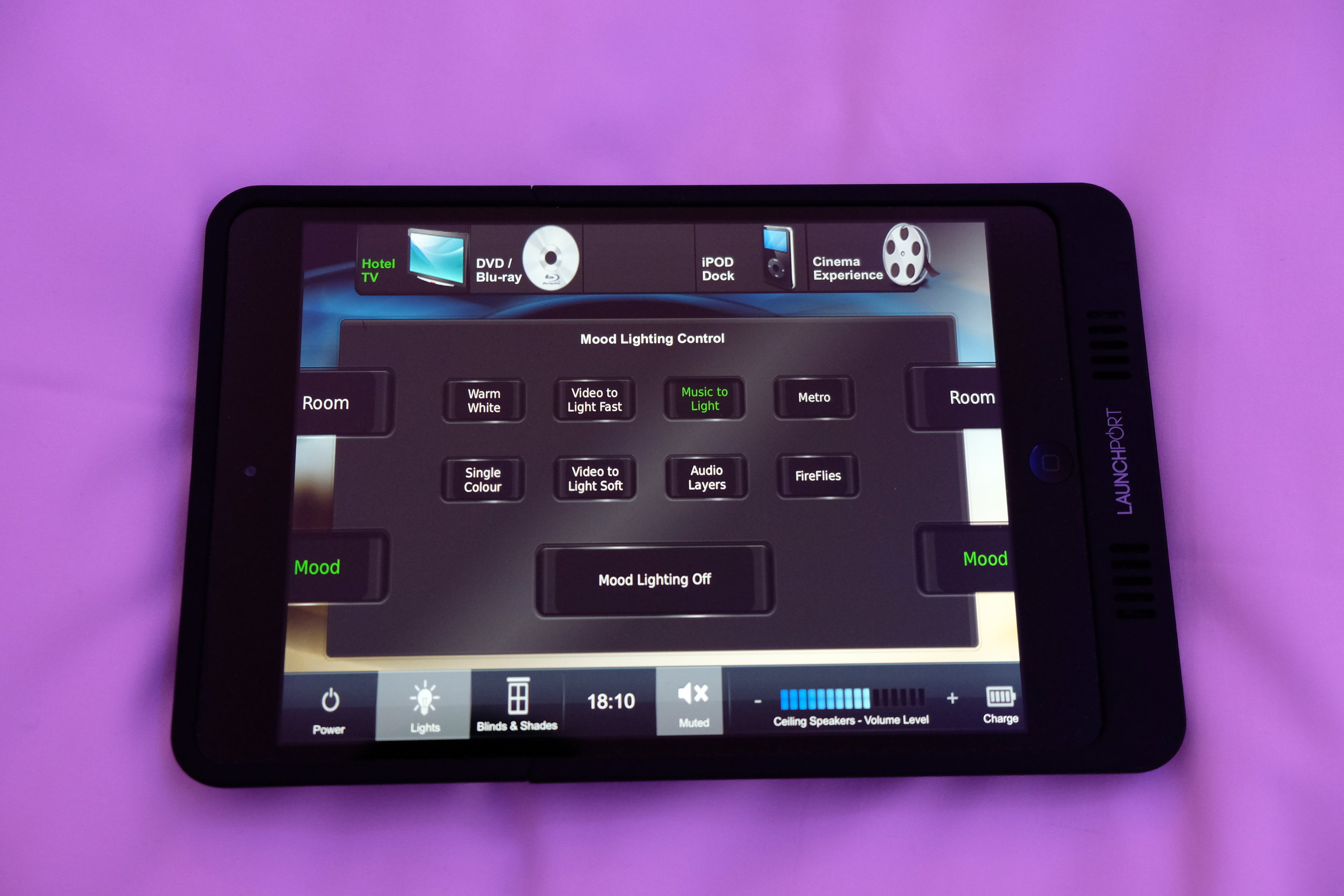 The iPad allows you to control the lighting, tv, curtains, blinds, and mood lighting in the room.